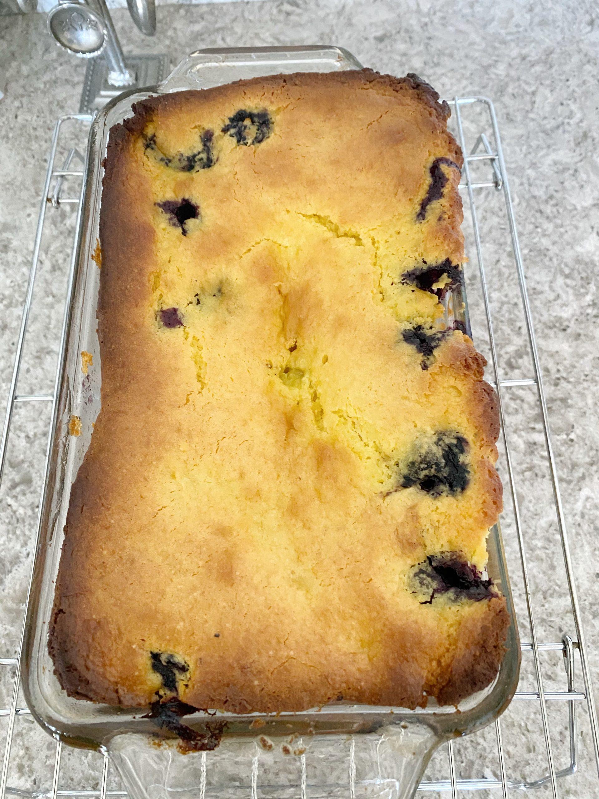 Easy Lemon Blueberry Cake Loaf on cooling rack