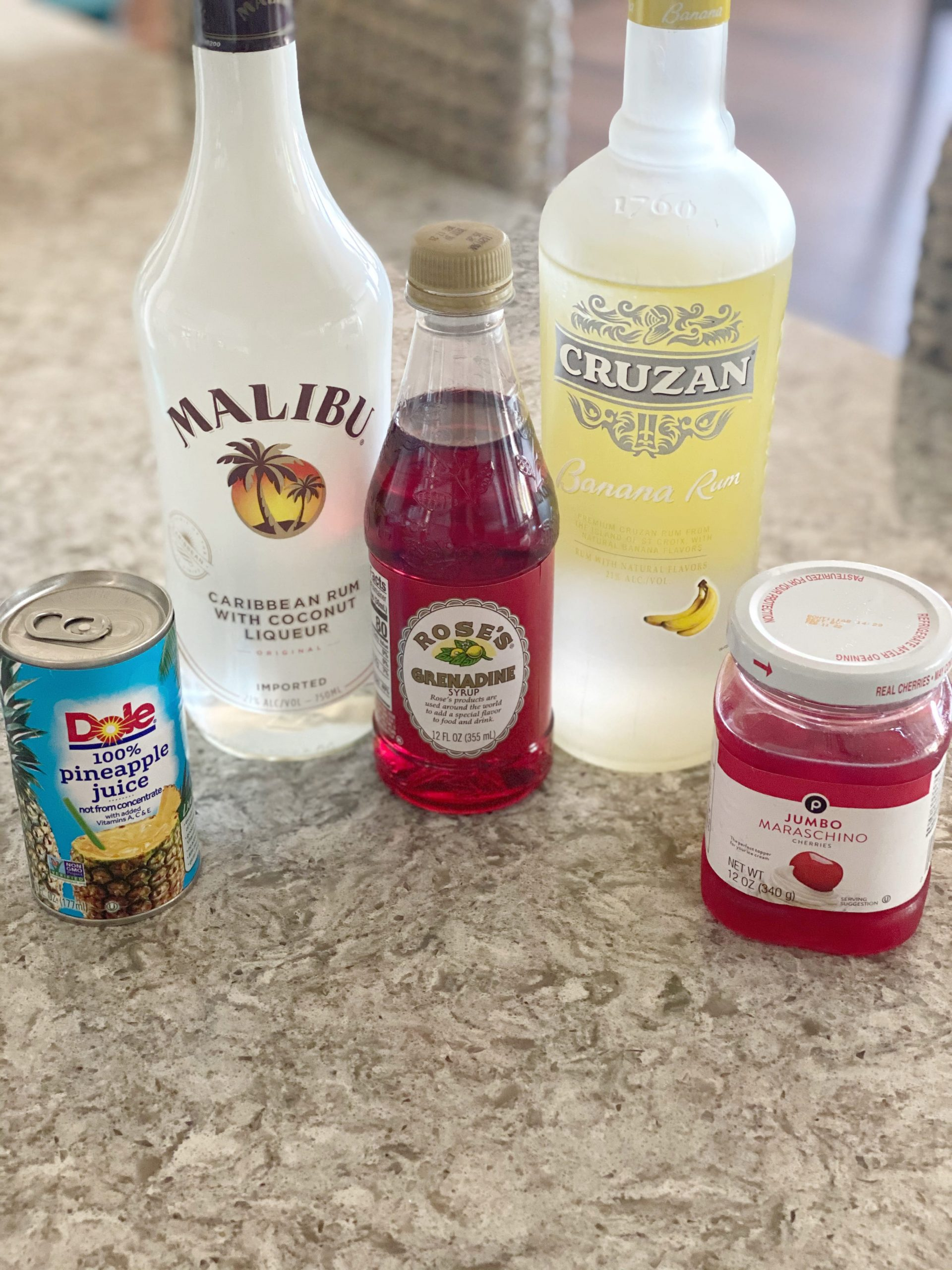 Ingredients for Banana Coconut Rum Punch