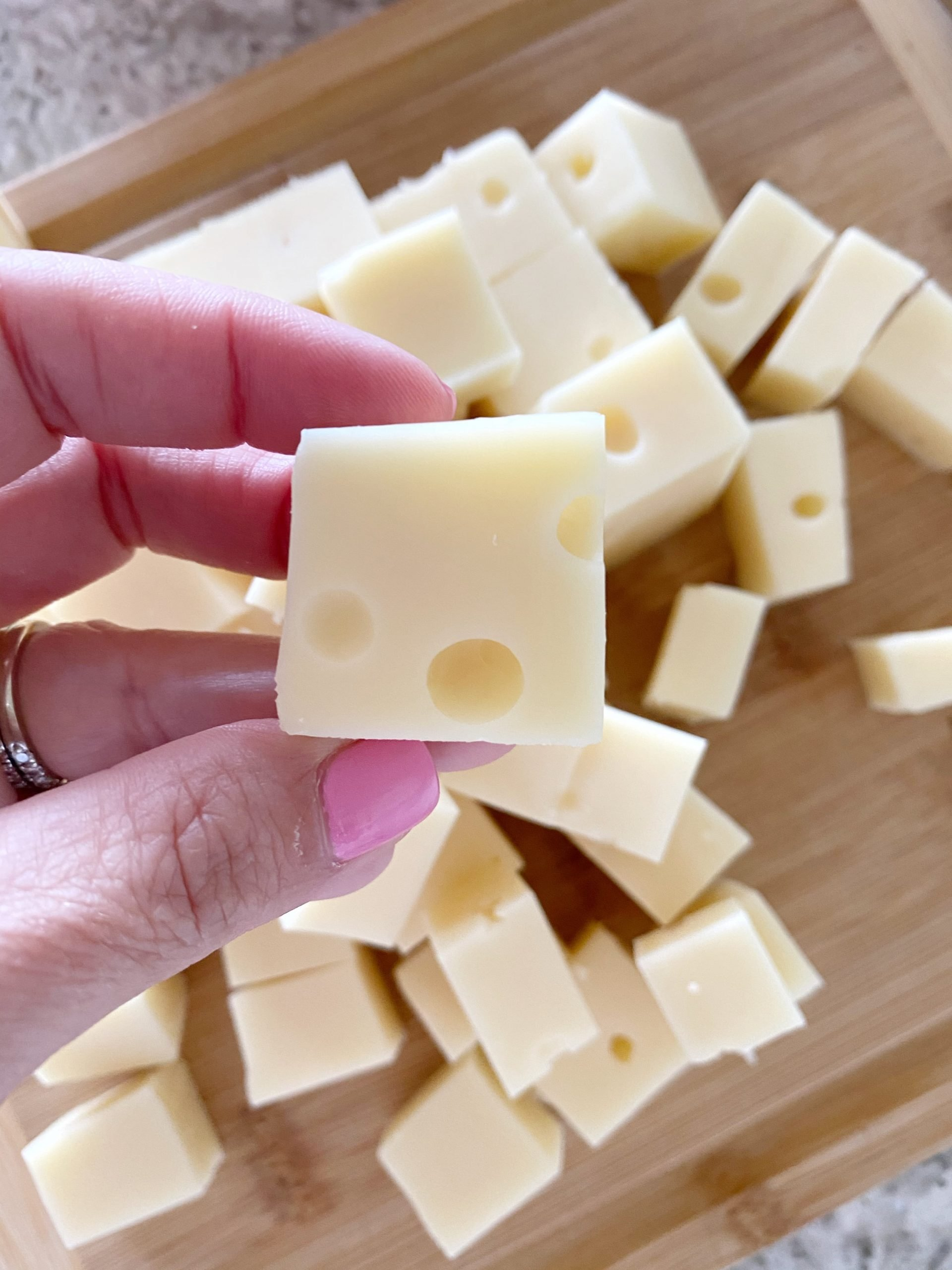 swiss cheese cubed