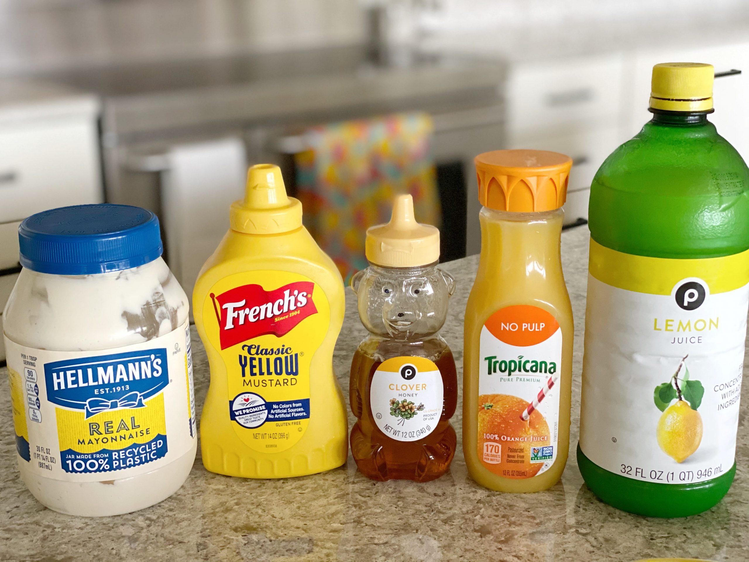 ingredients for homemade honey mustard dressing