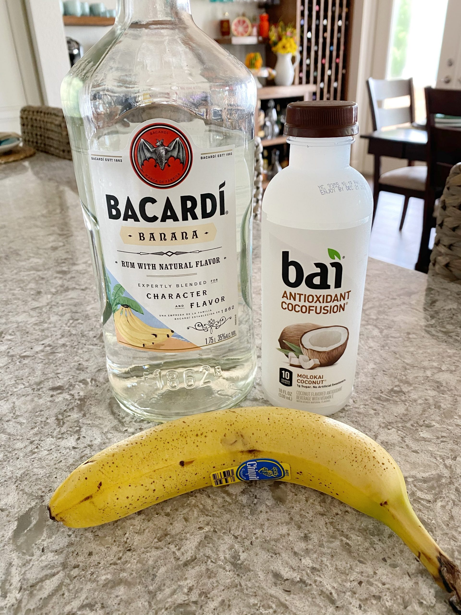 Banana rum, coconut water and banana