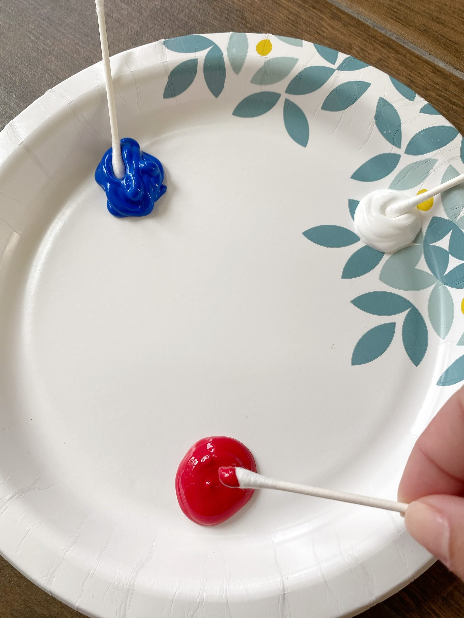 red, white and blue paint
