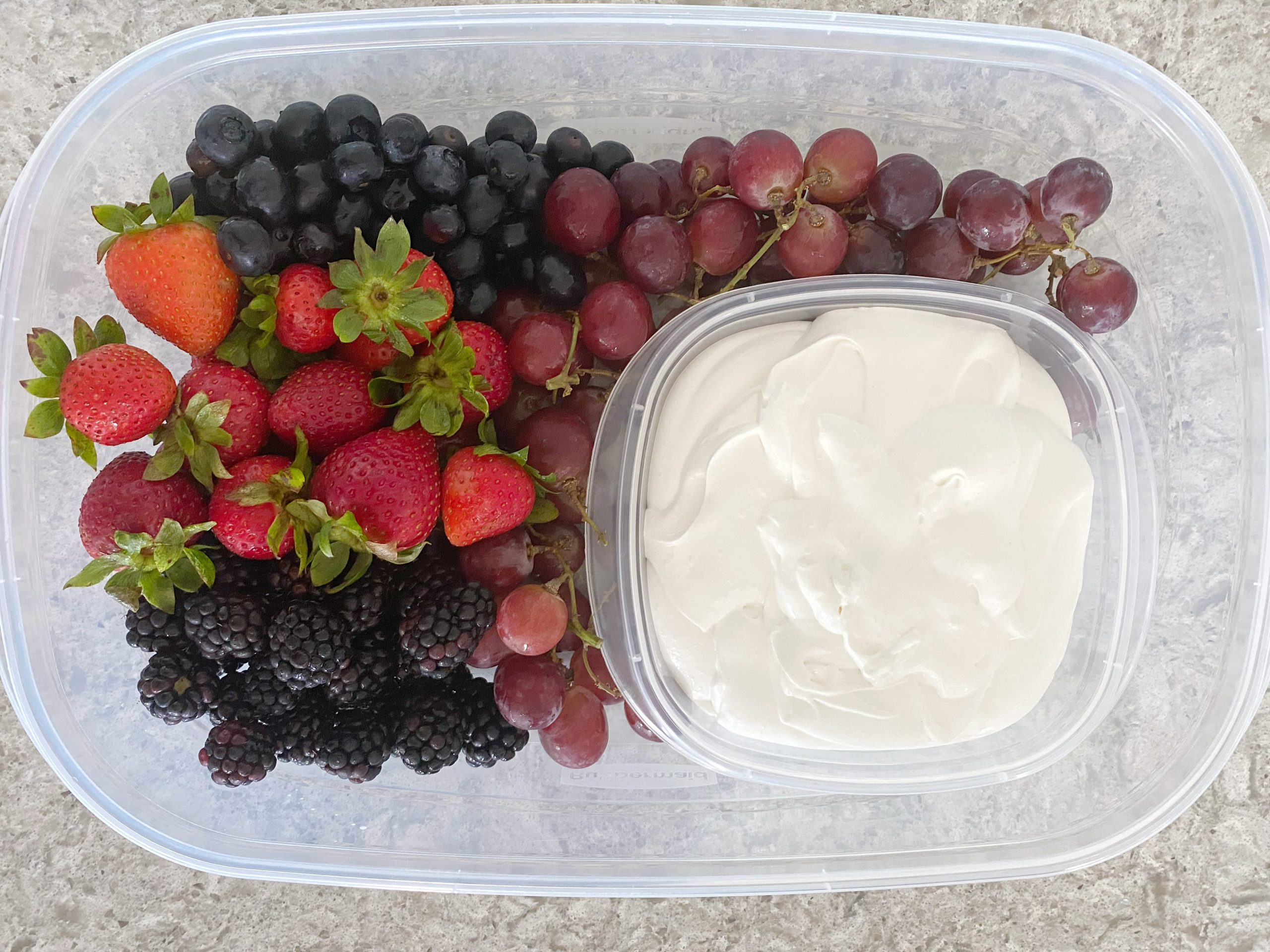Fruit dip and fruit in container