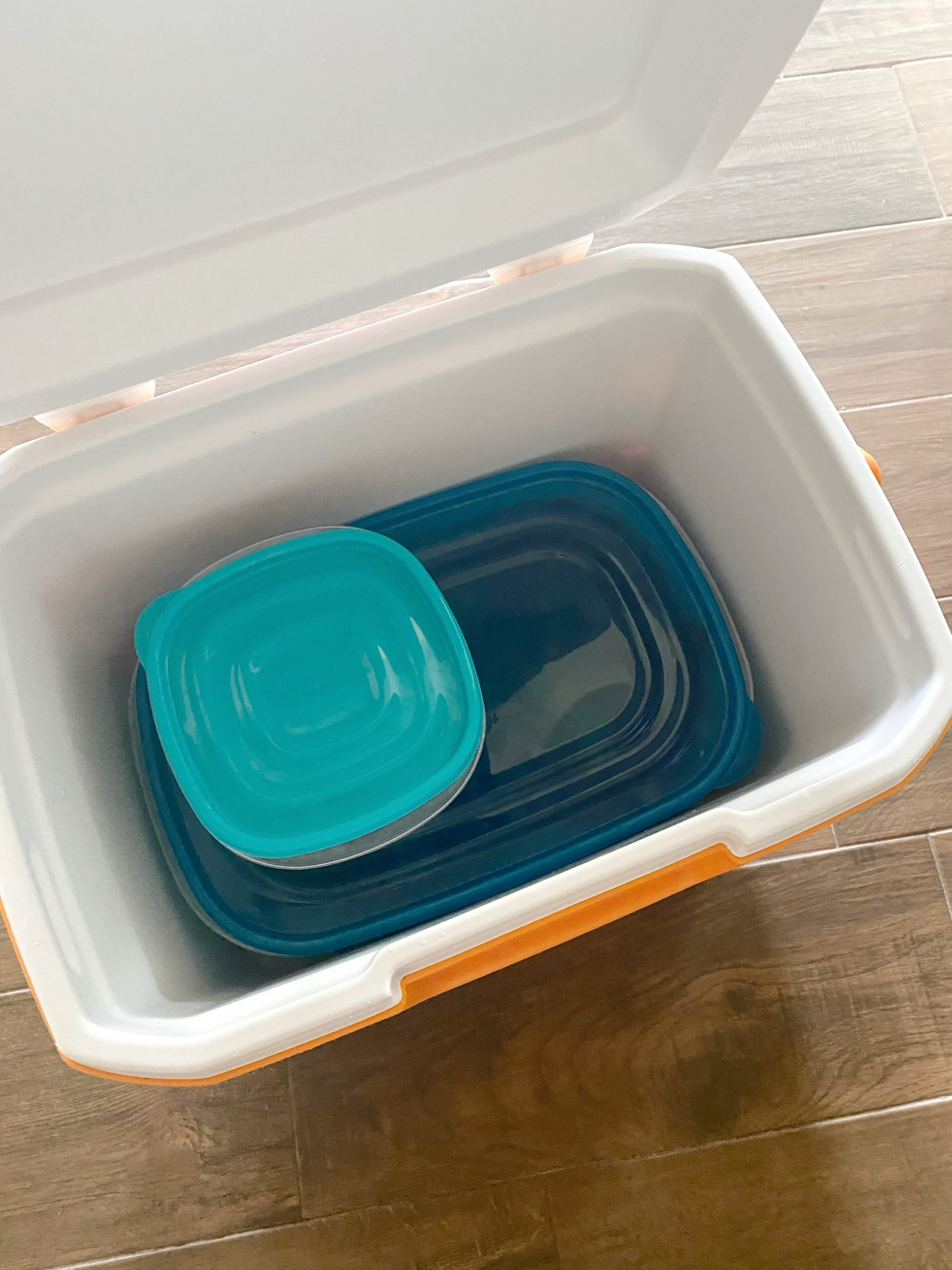 Plastic containers in a cooler