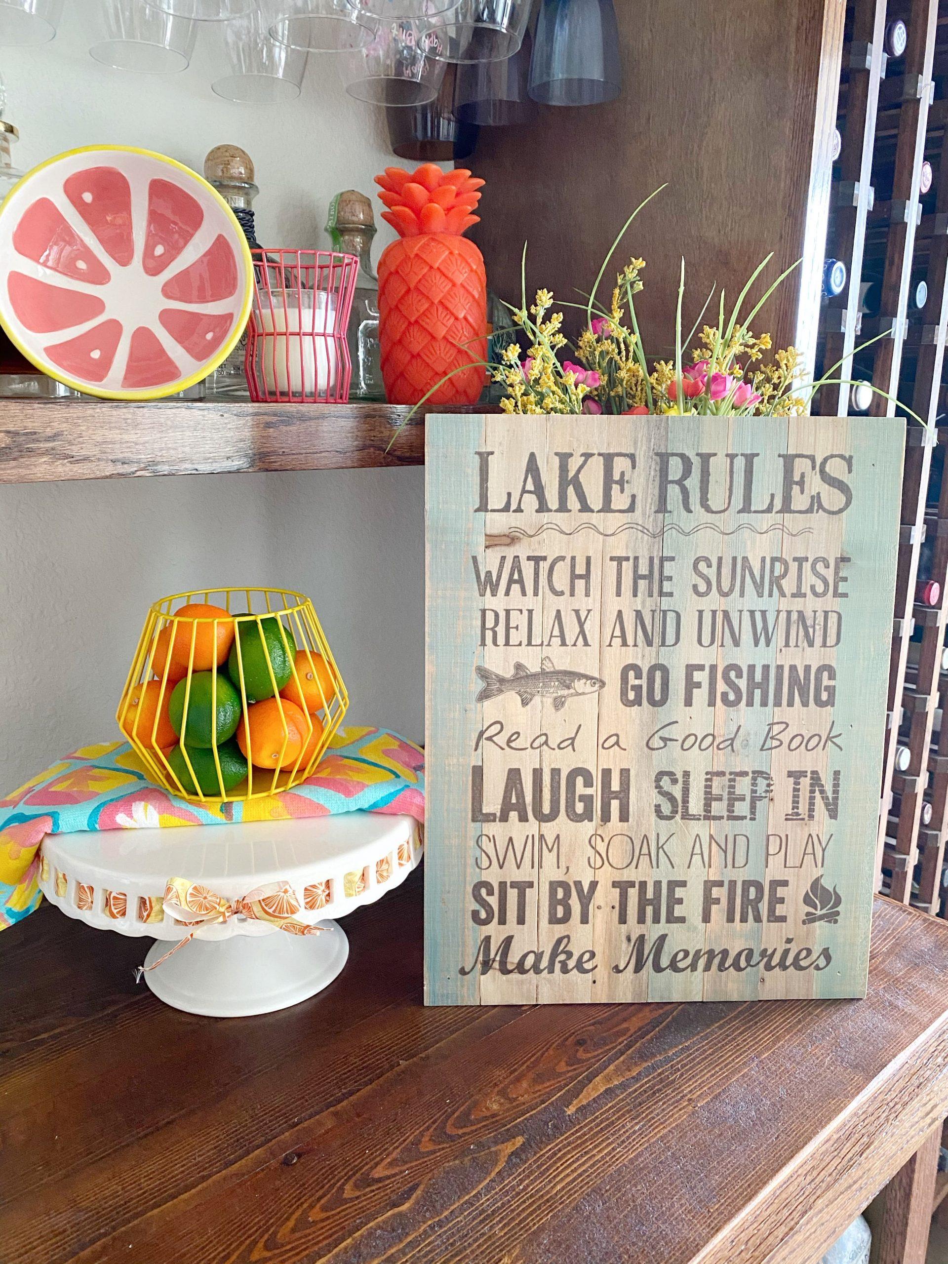 Lake House Rules Sign | Lake House Gift Ideas