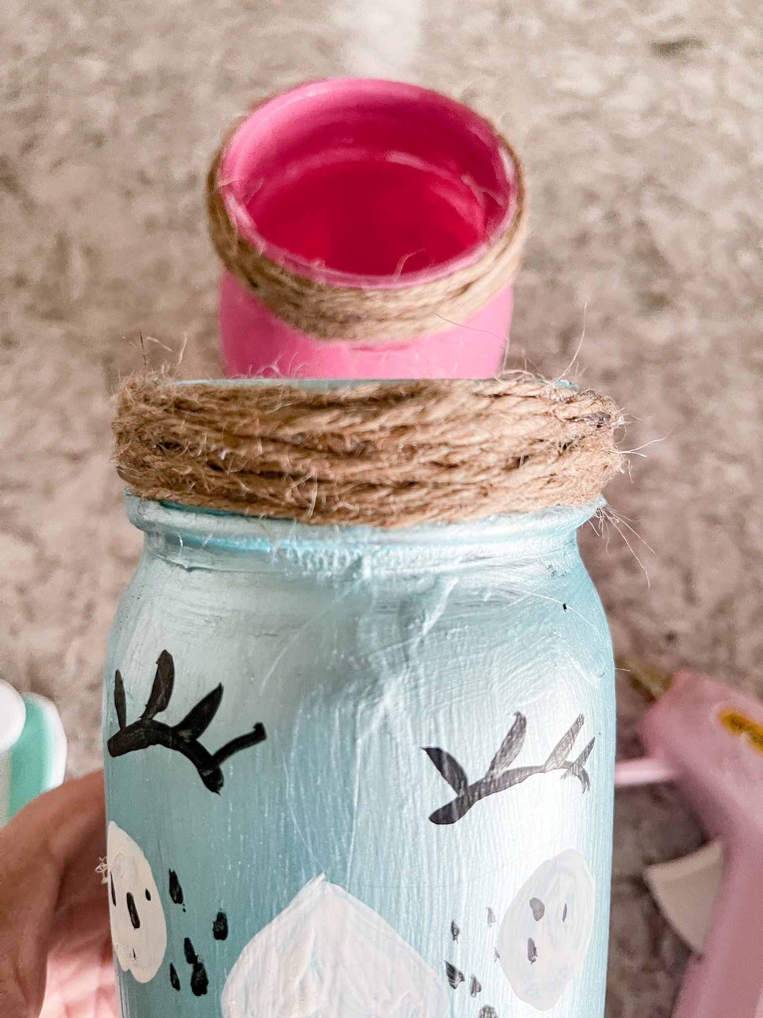 twine hot glued to a mason jar