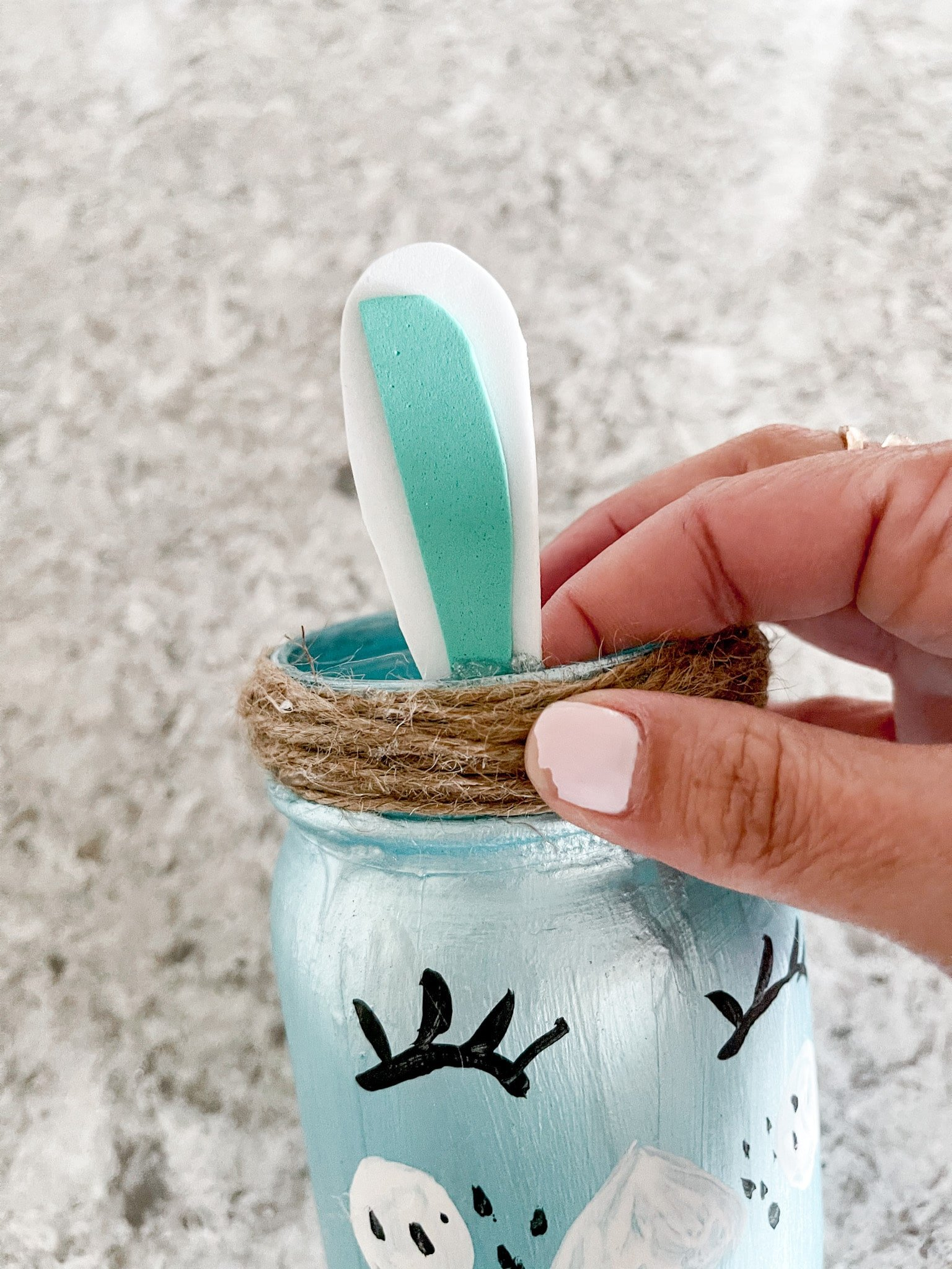 foam bunny ears on mason jar