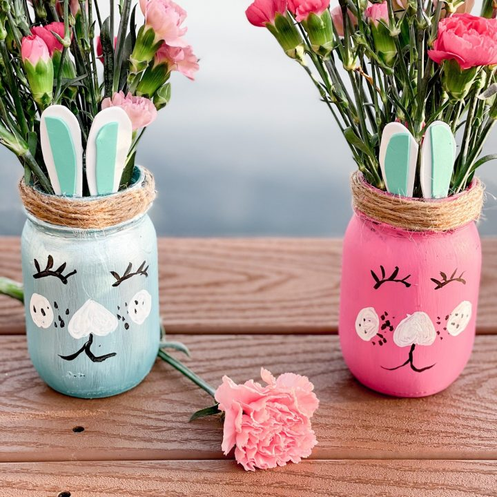 Easy Easter Bunny Mason Jars