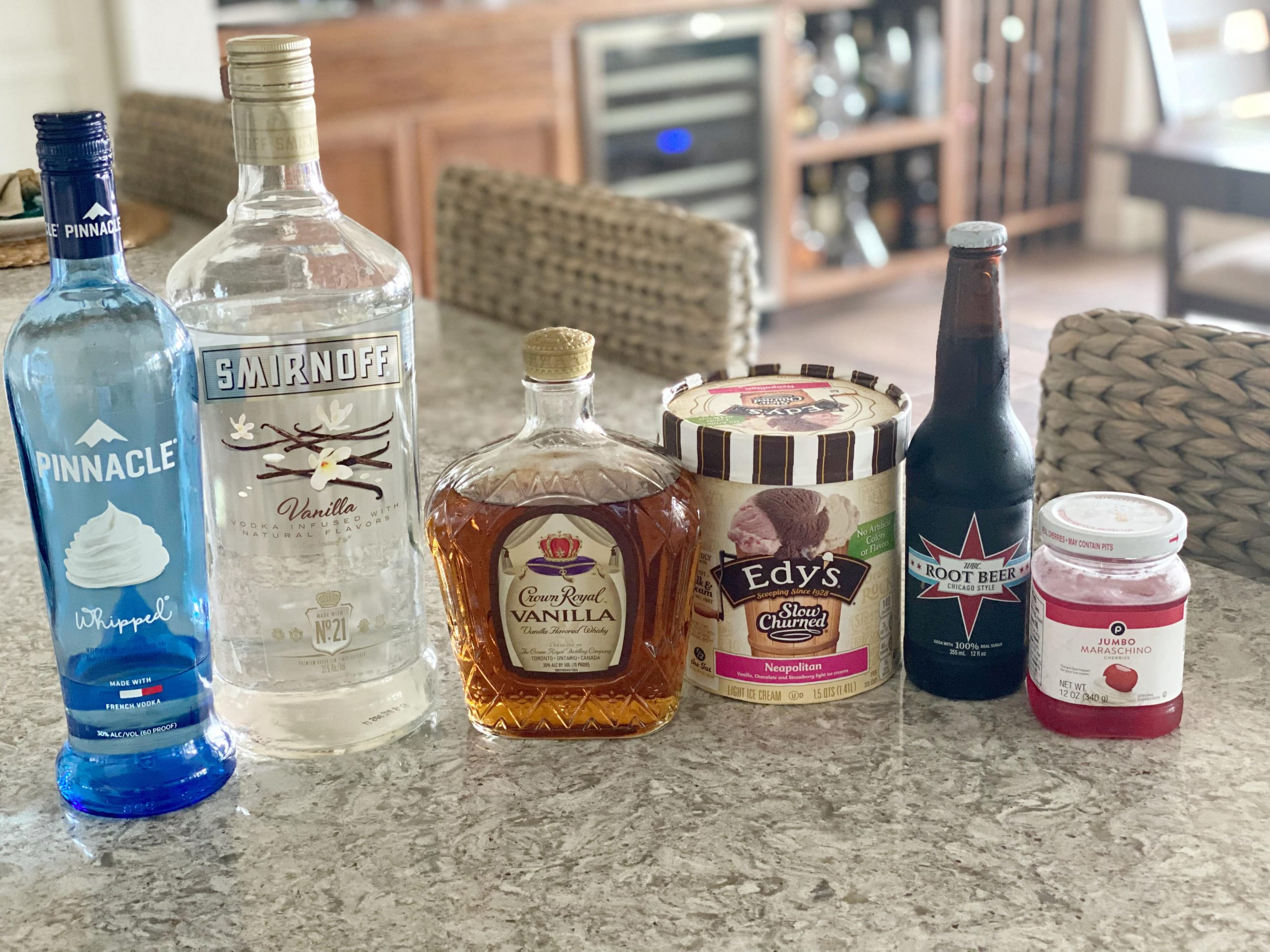 Ingredients for a Spiked Root Beer Float