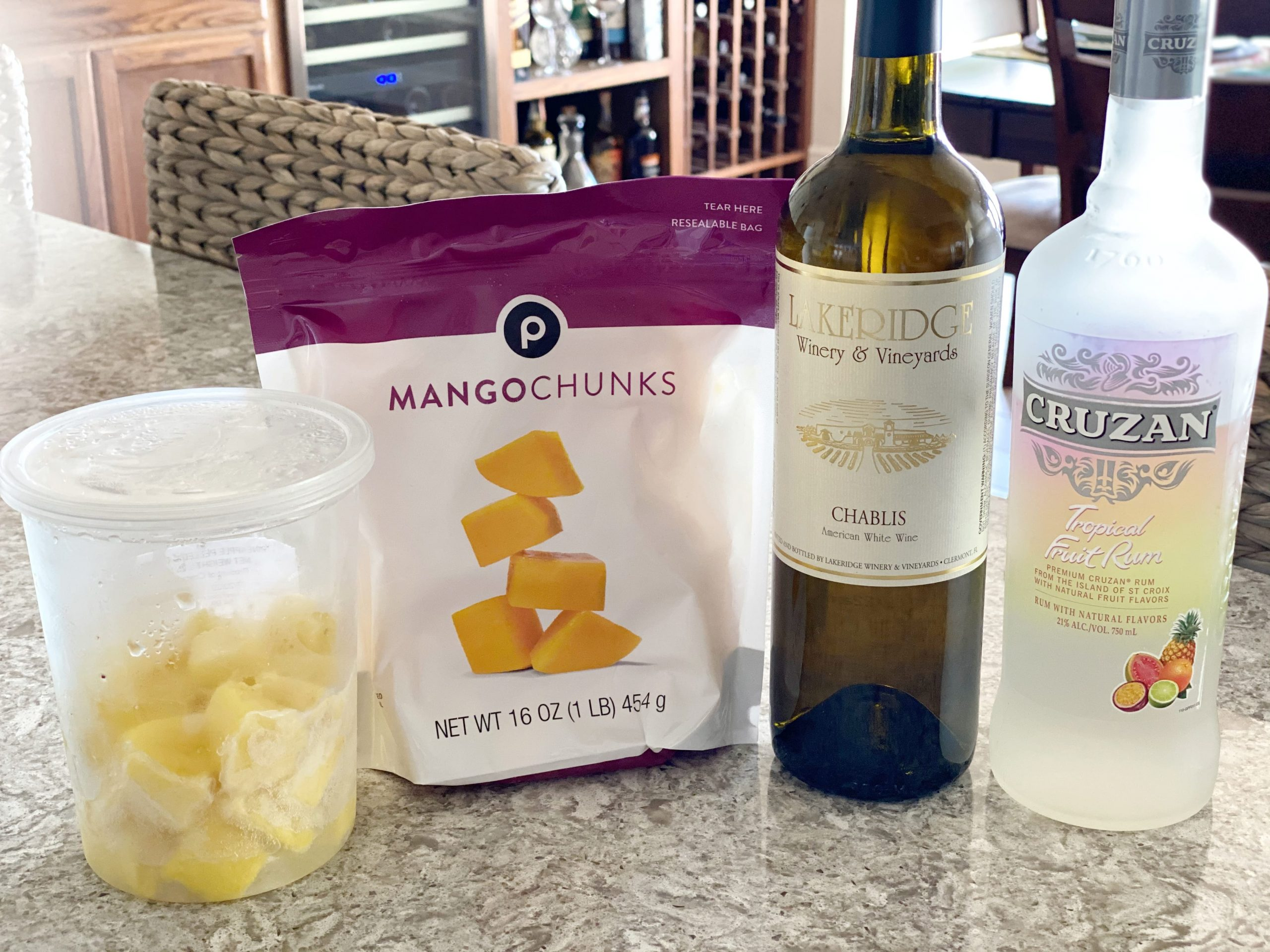 ingredients for a fruity wine slushy