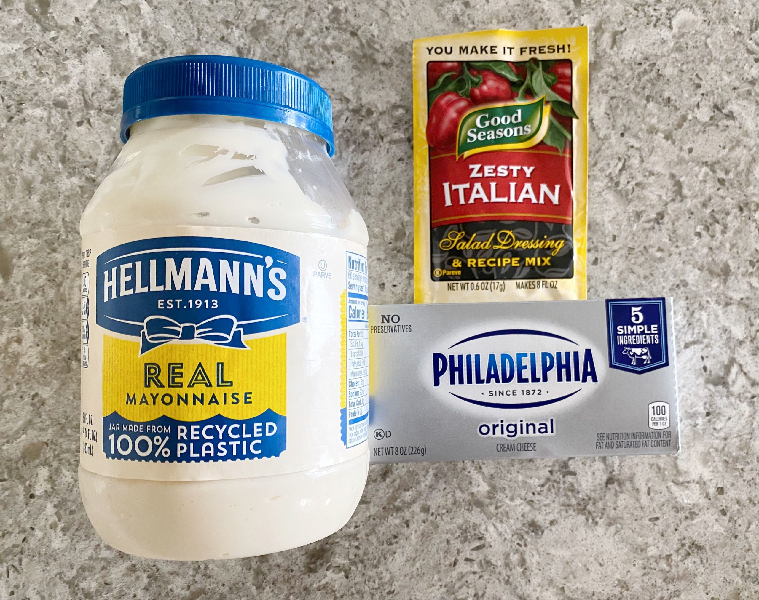 ingredients for Italian Cream Cheese Veggie Dip
