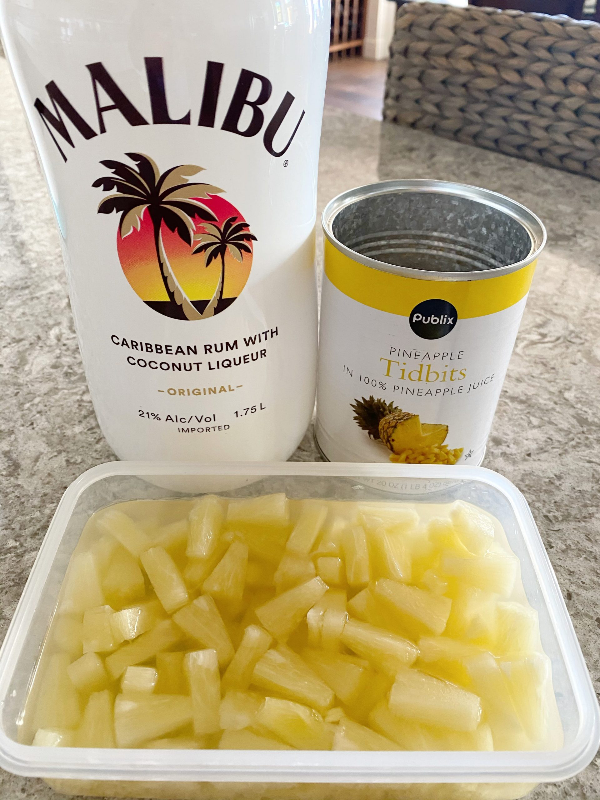 pineapple soaking in Malibu rum