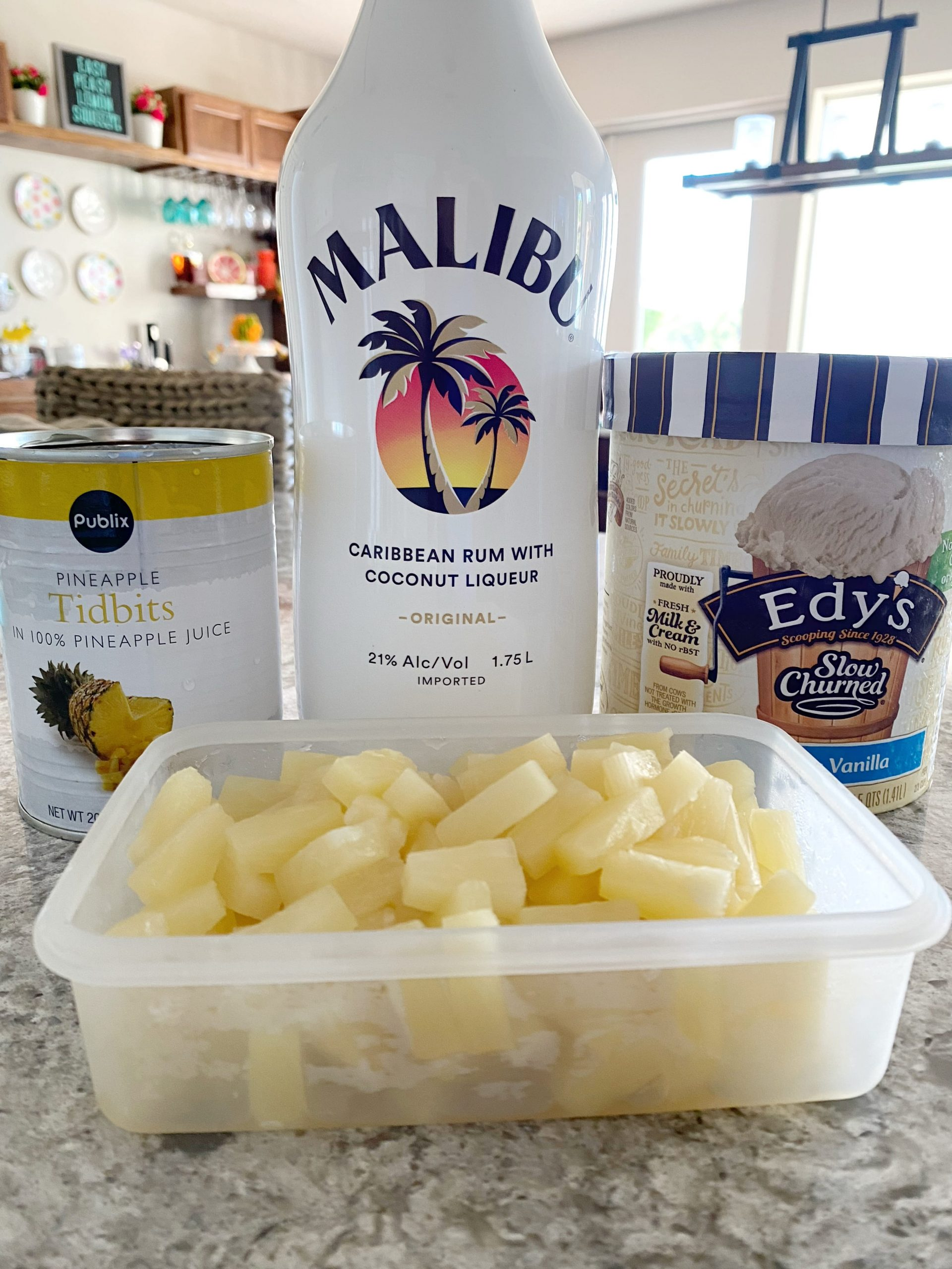 Ingredients to make a Spiked Dole Whip Recipe with Coconut Rum