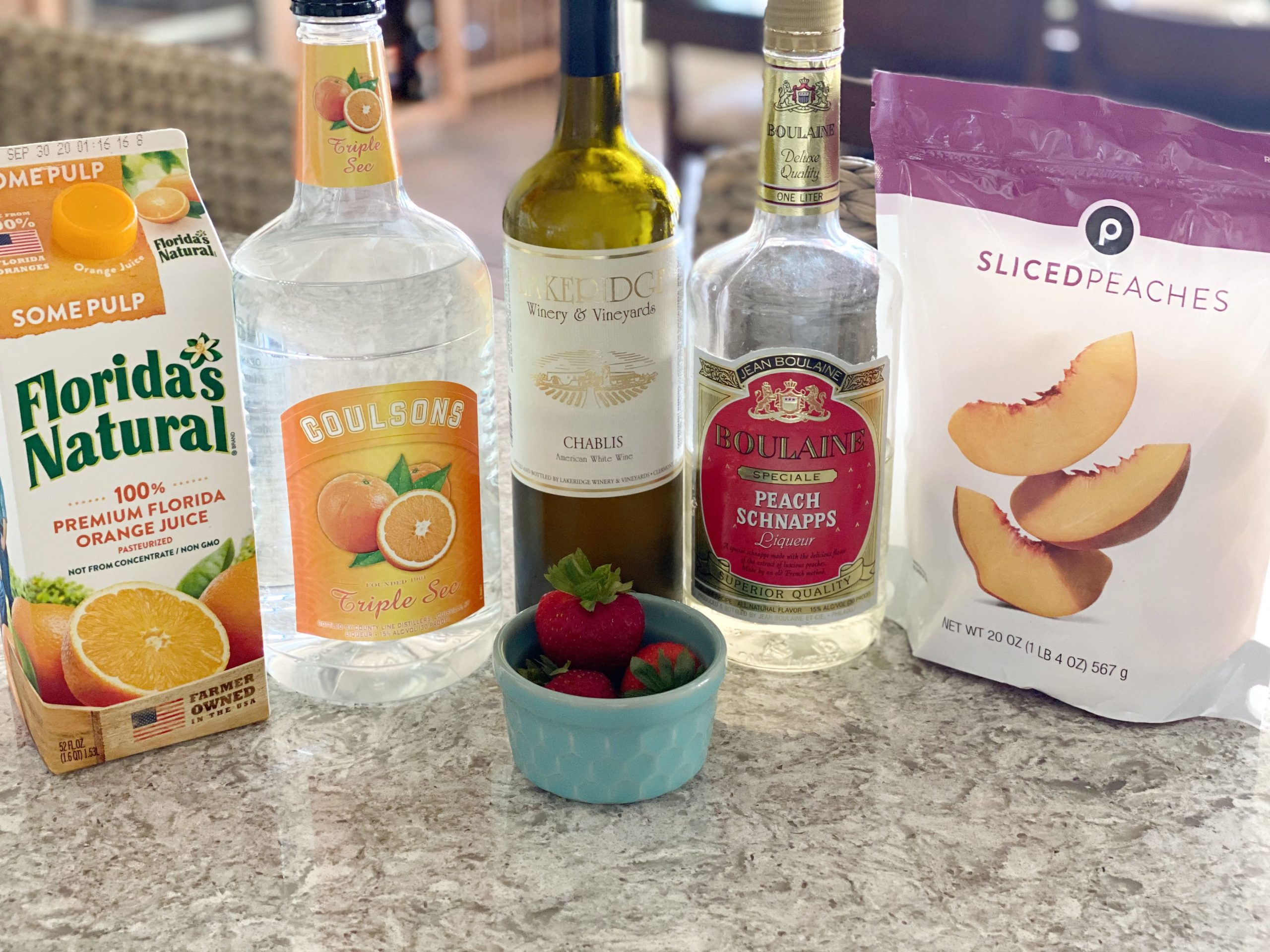 ingredients for peach white sangria