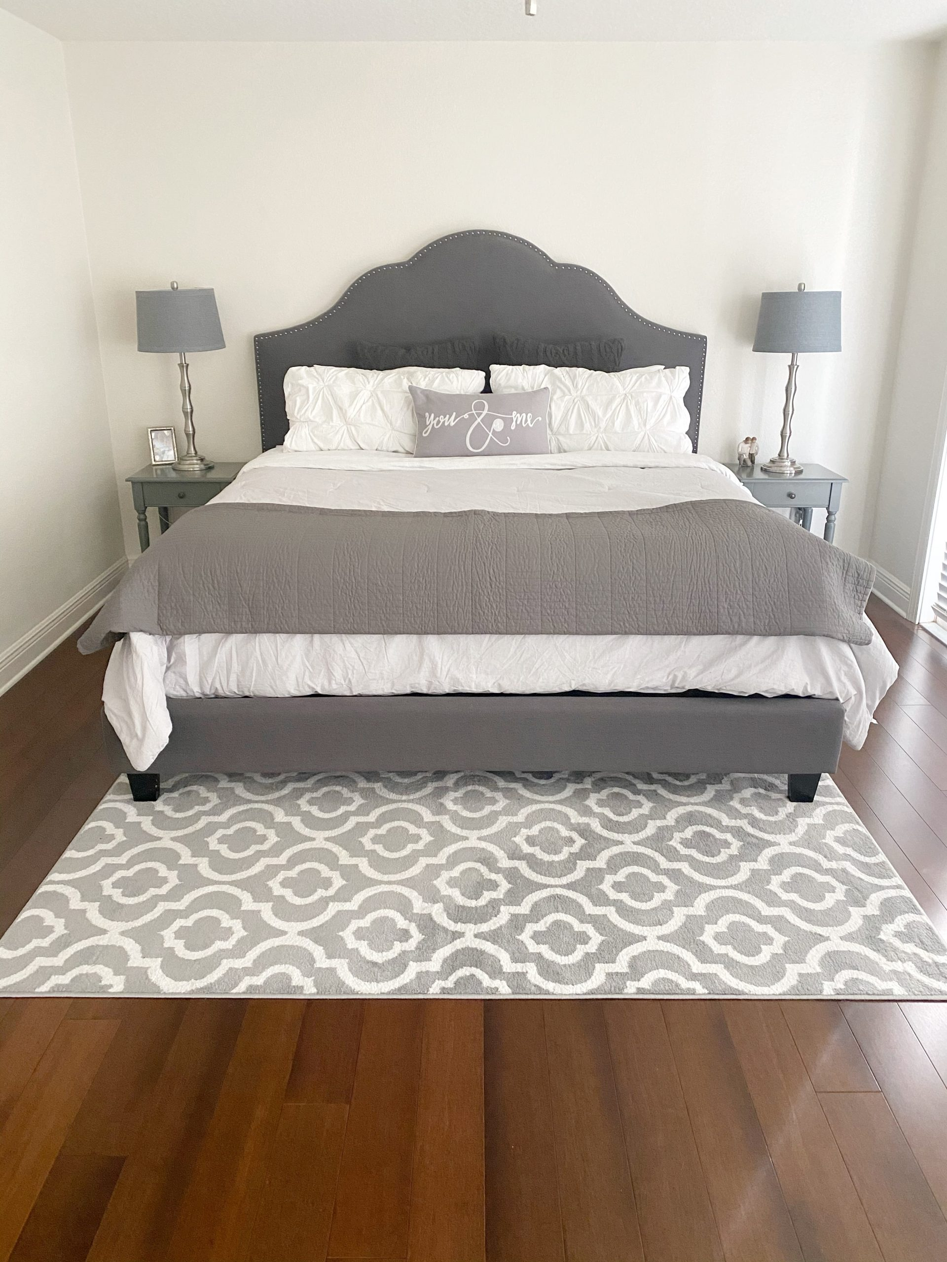 Gray and White bedroom decor