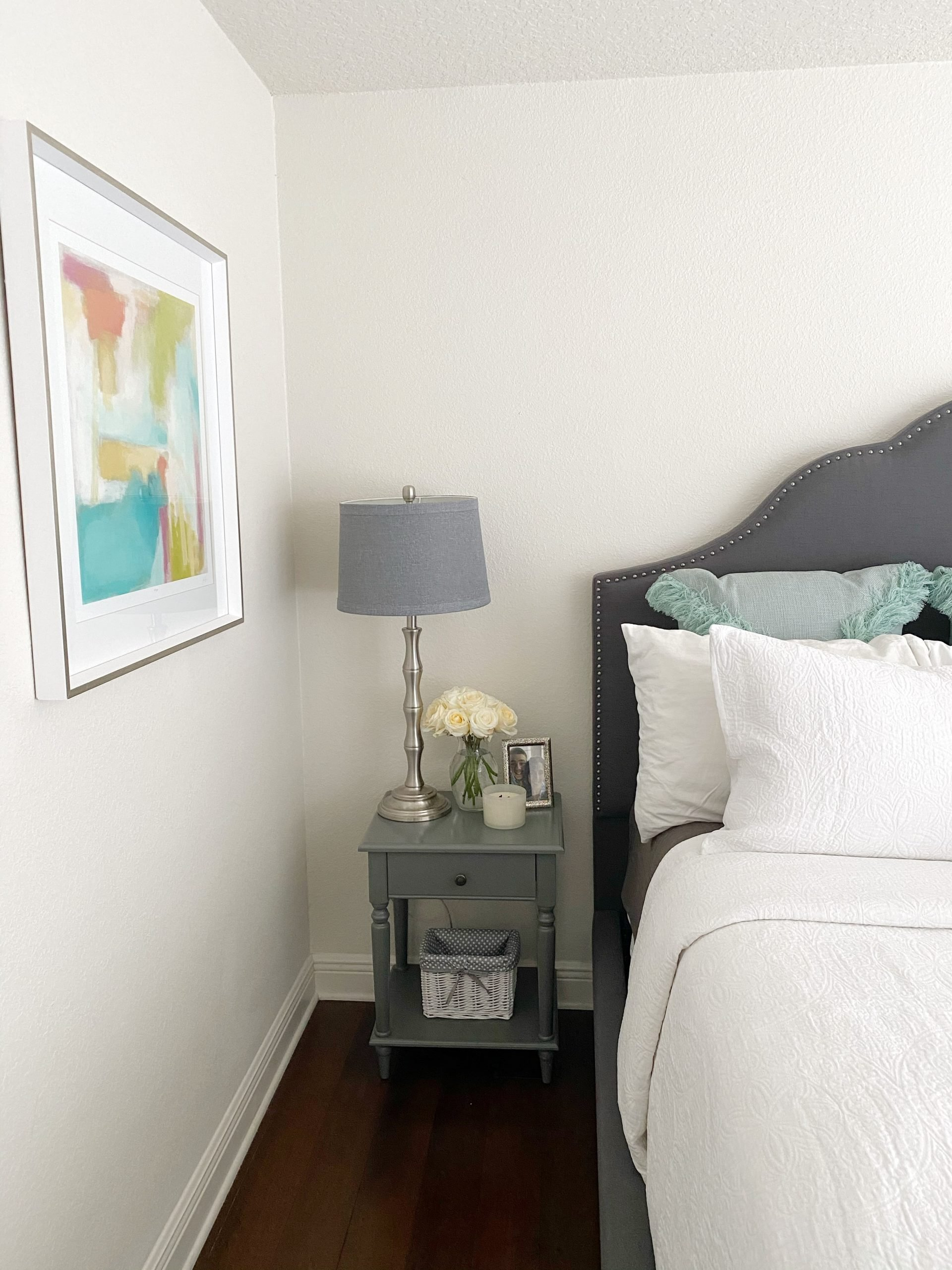 teal and gray bedroom decor