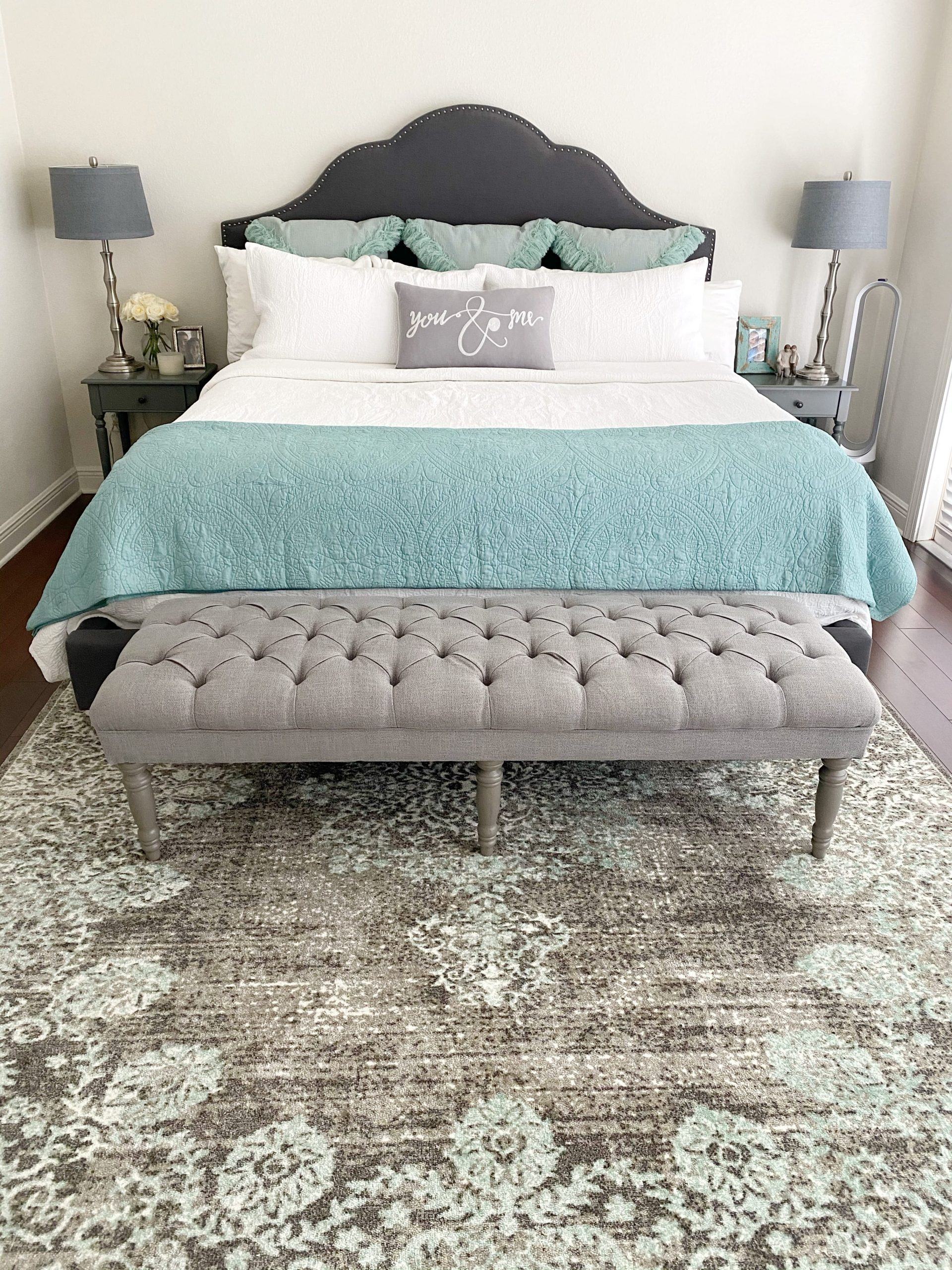 Lake House Master Bedroom Reveal Teal And Gray Bedroom Ideas