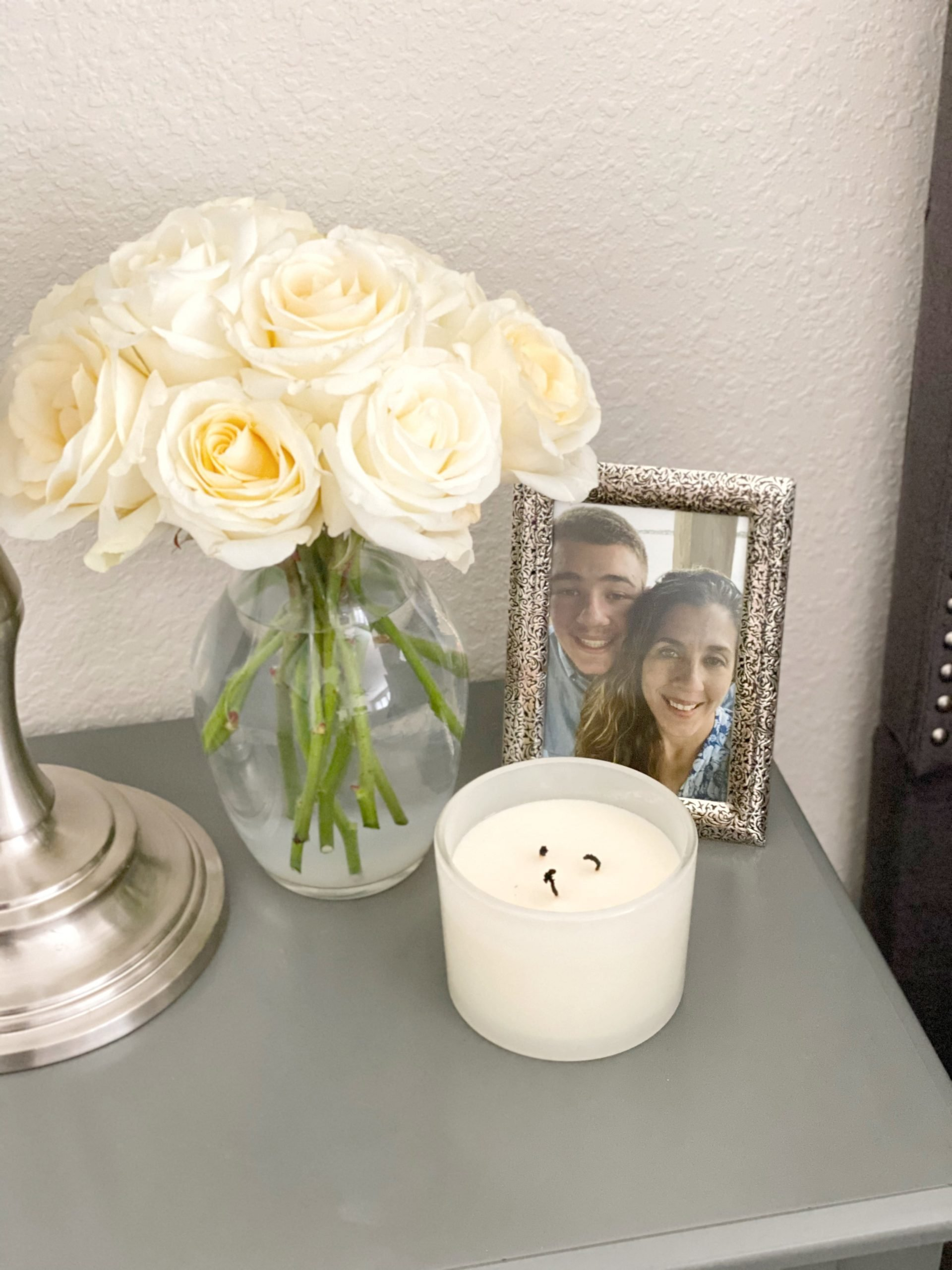 decorated gray night stand