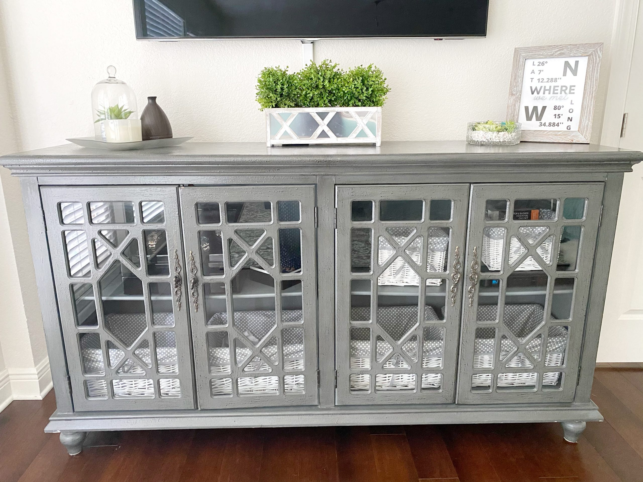 decorated gray media console