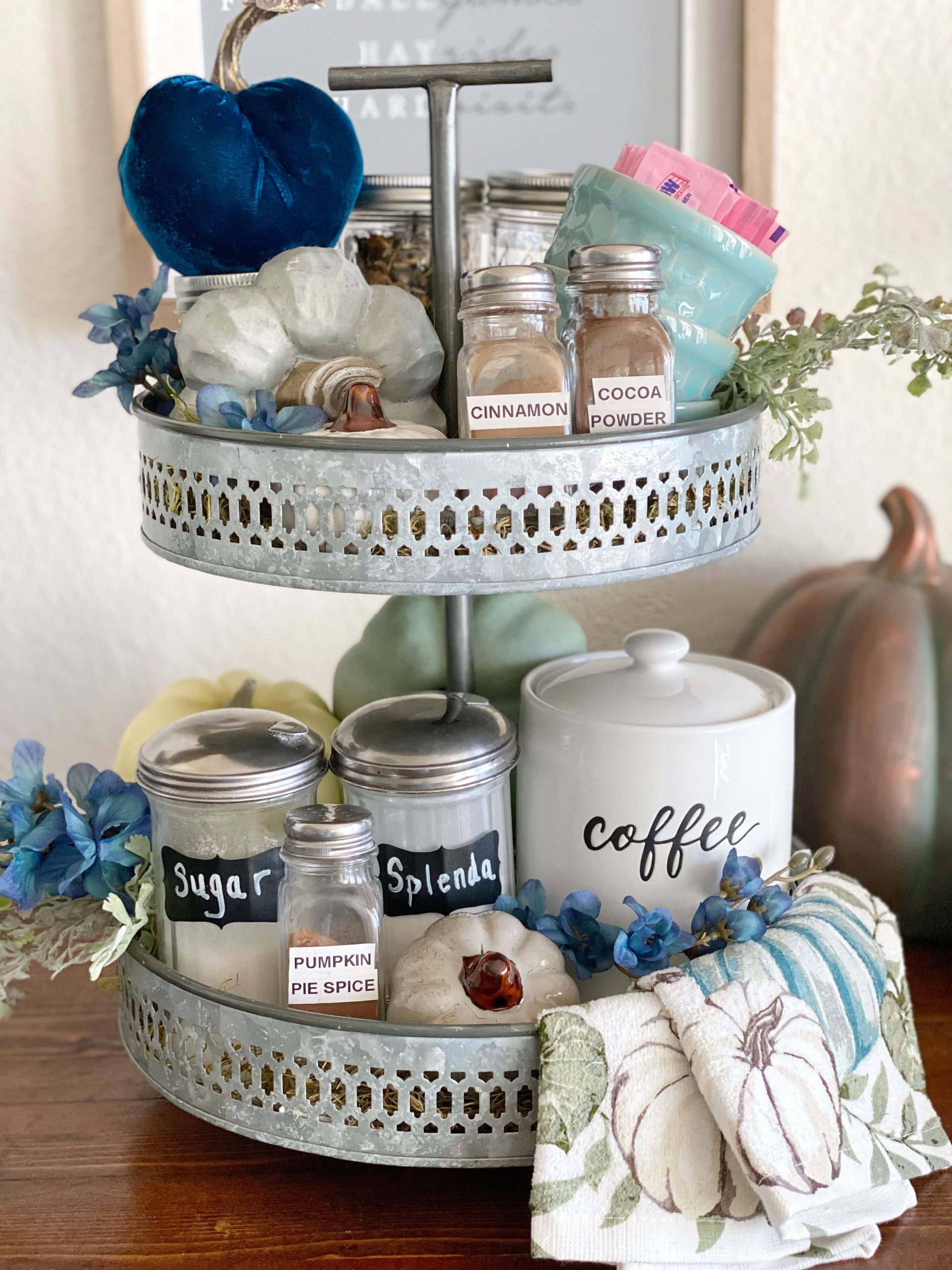 closeup of a fall tiered tray