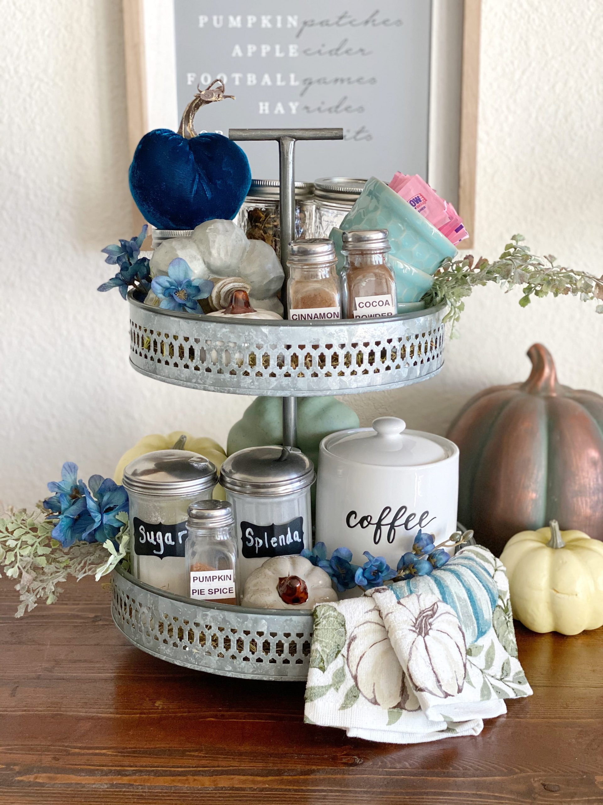 Two tiered tray fall decor