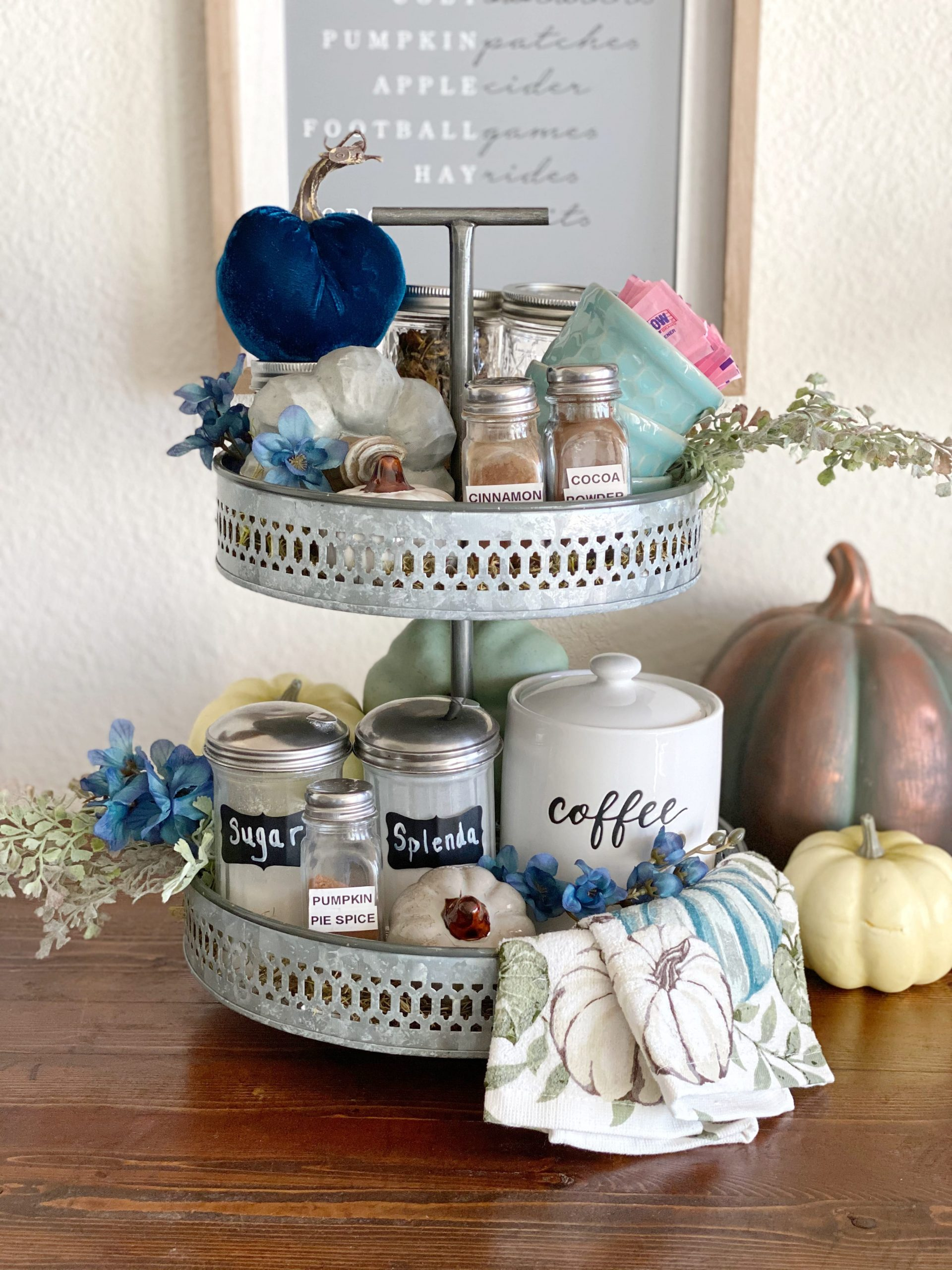 teal and blue fall decor
