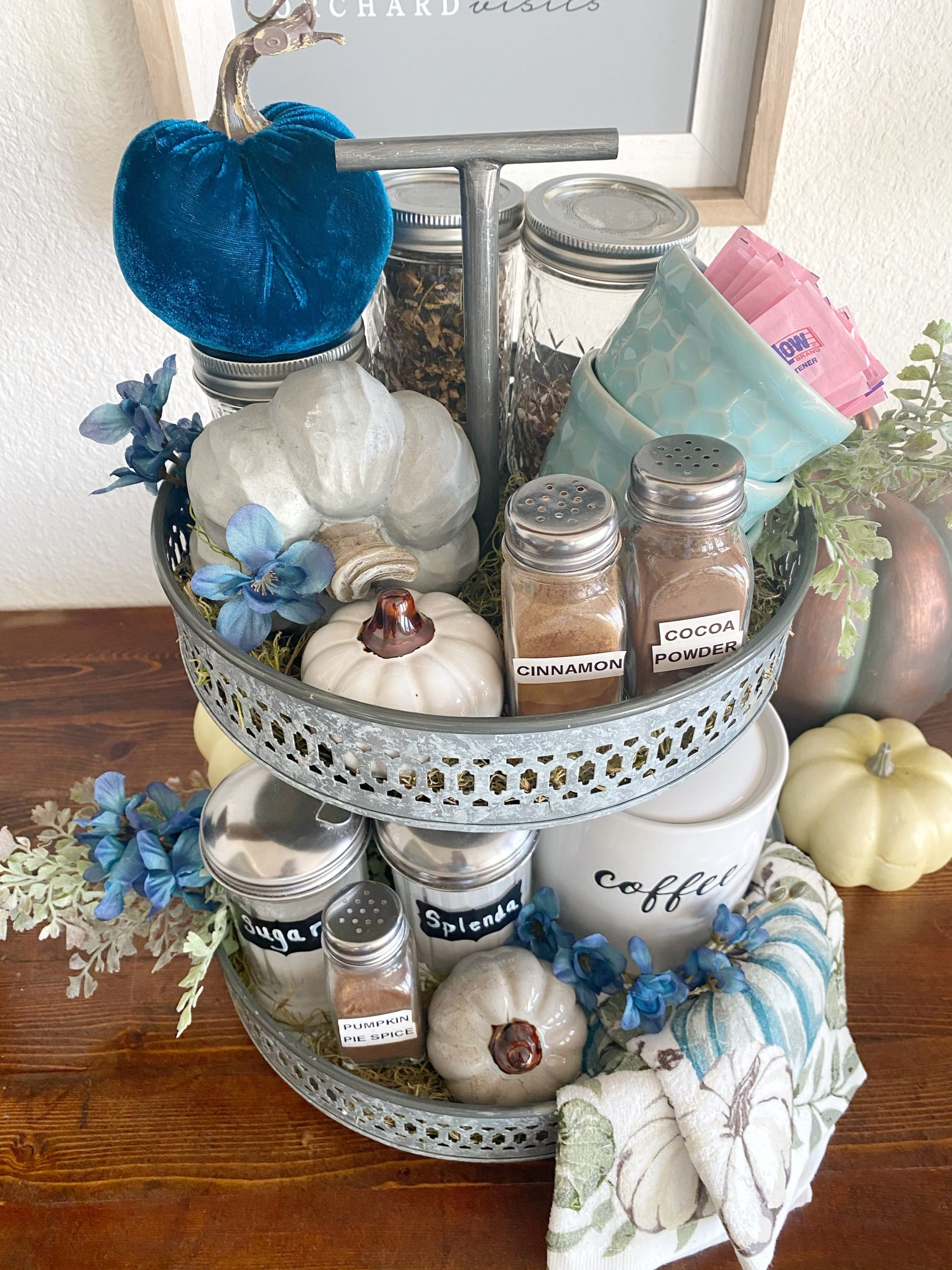 top view of a fall tiered tray