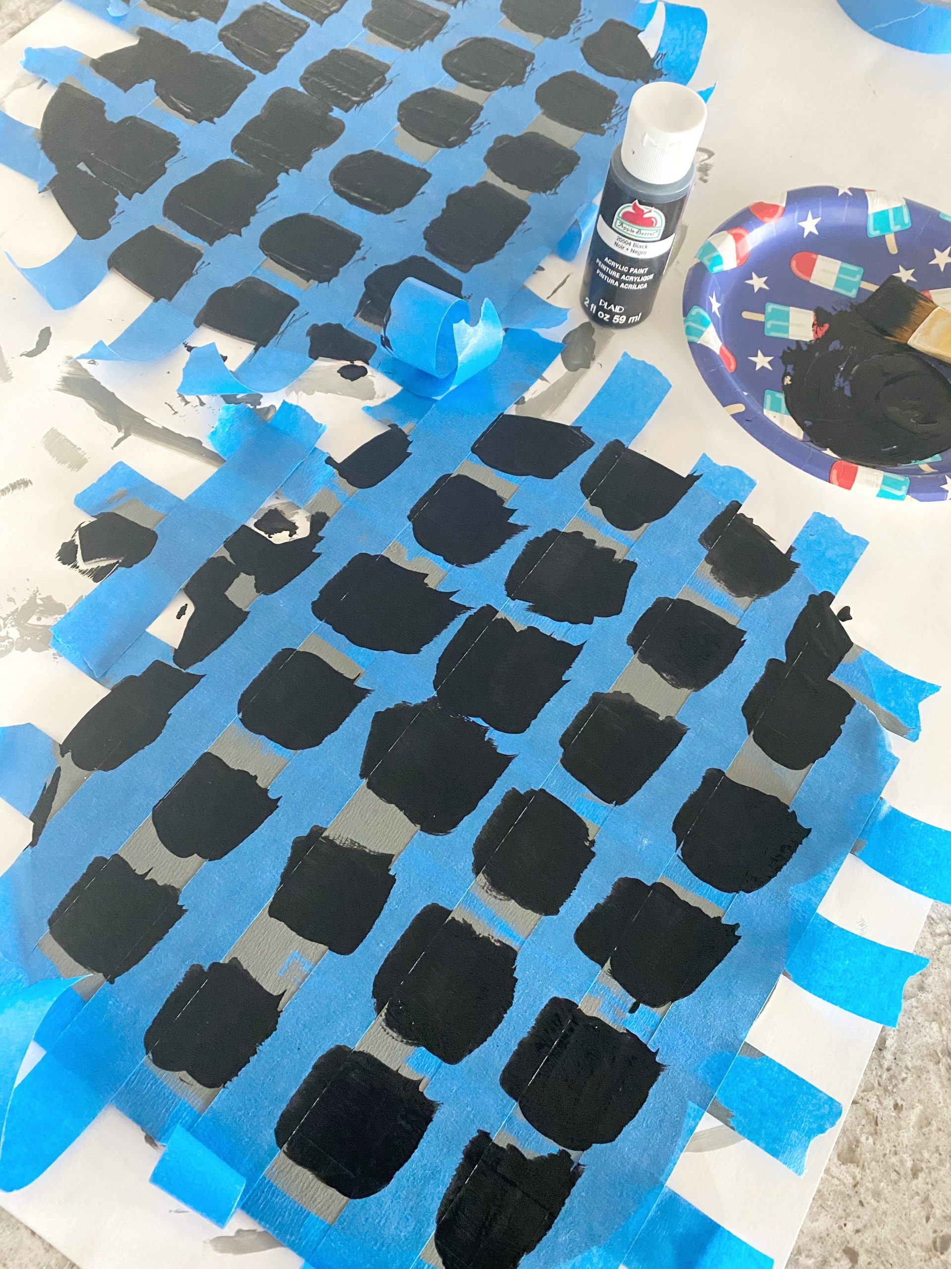 adding black paint for buffalo plaid pattern