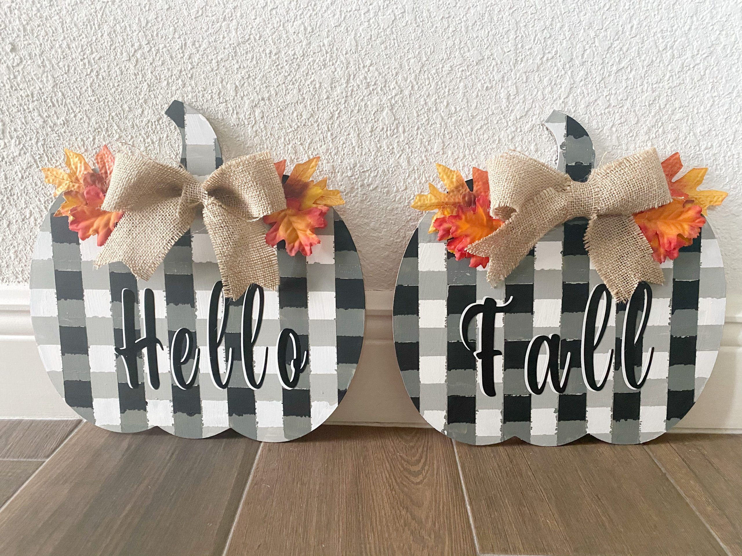 black buffalo plaid pumpkins