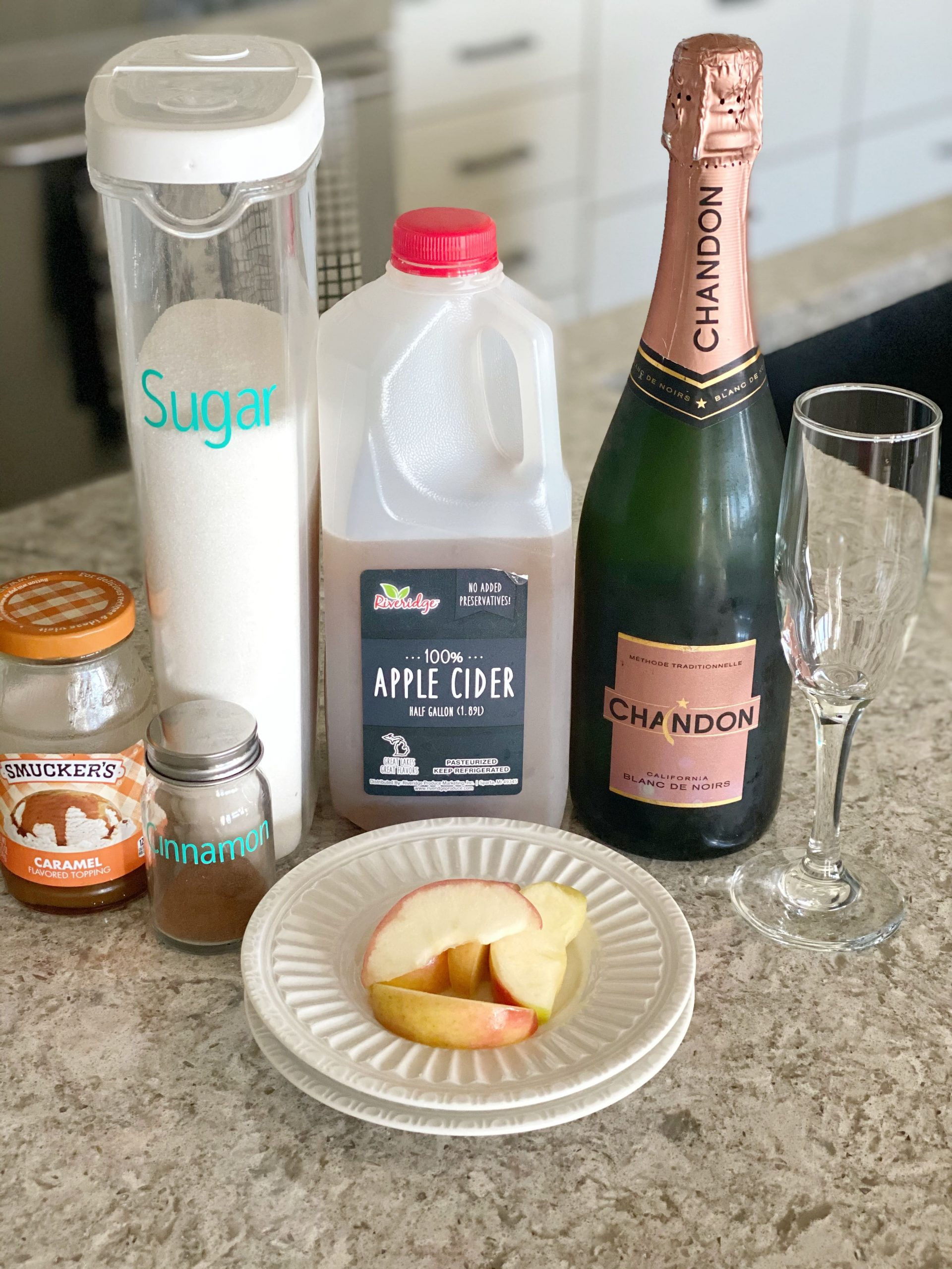 ingredients for apple cider mimosa