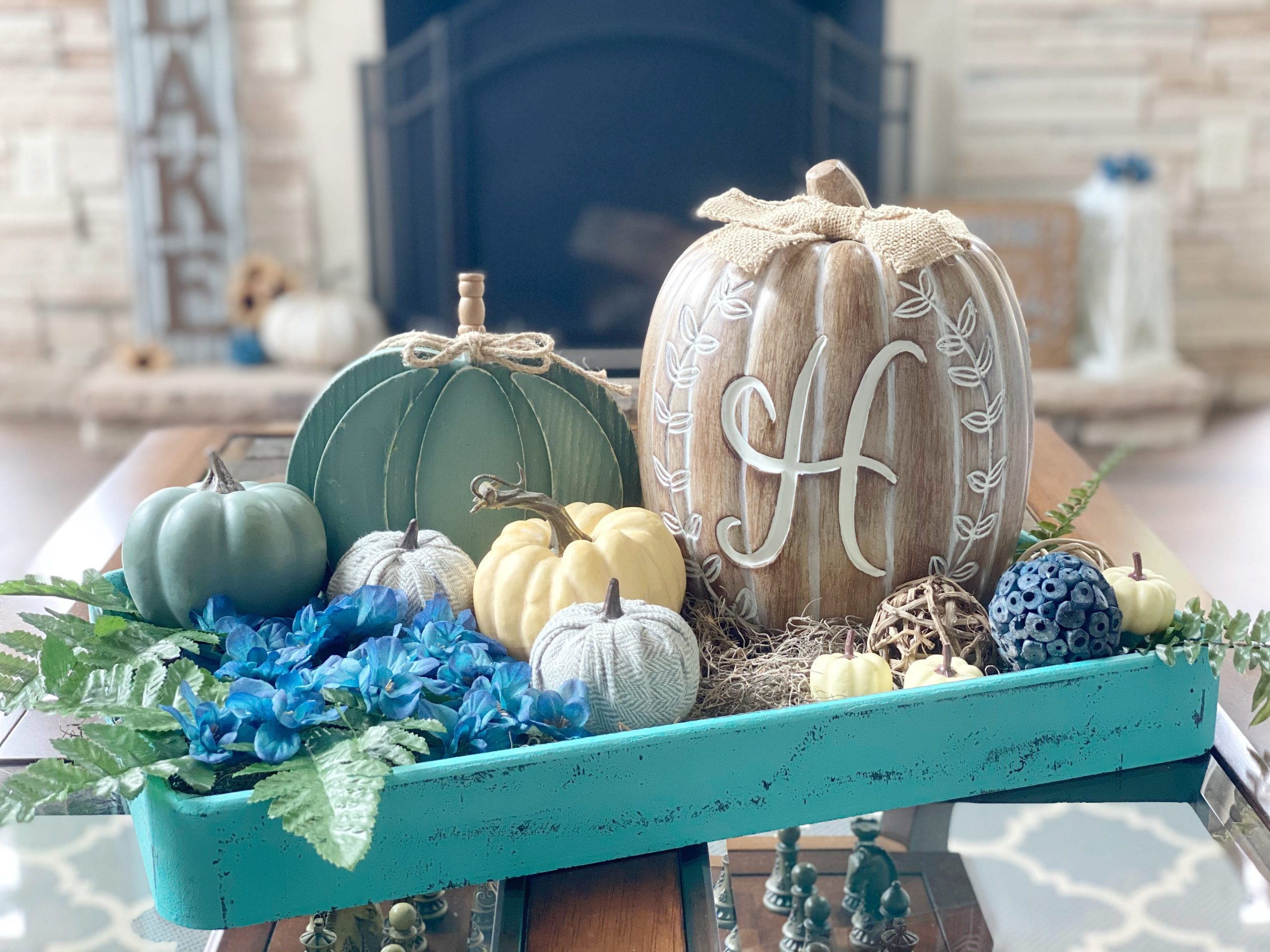 tray decorated for fall