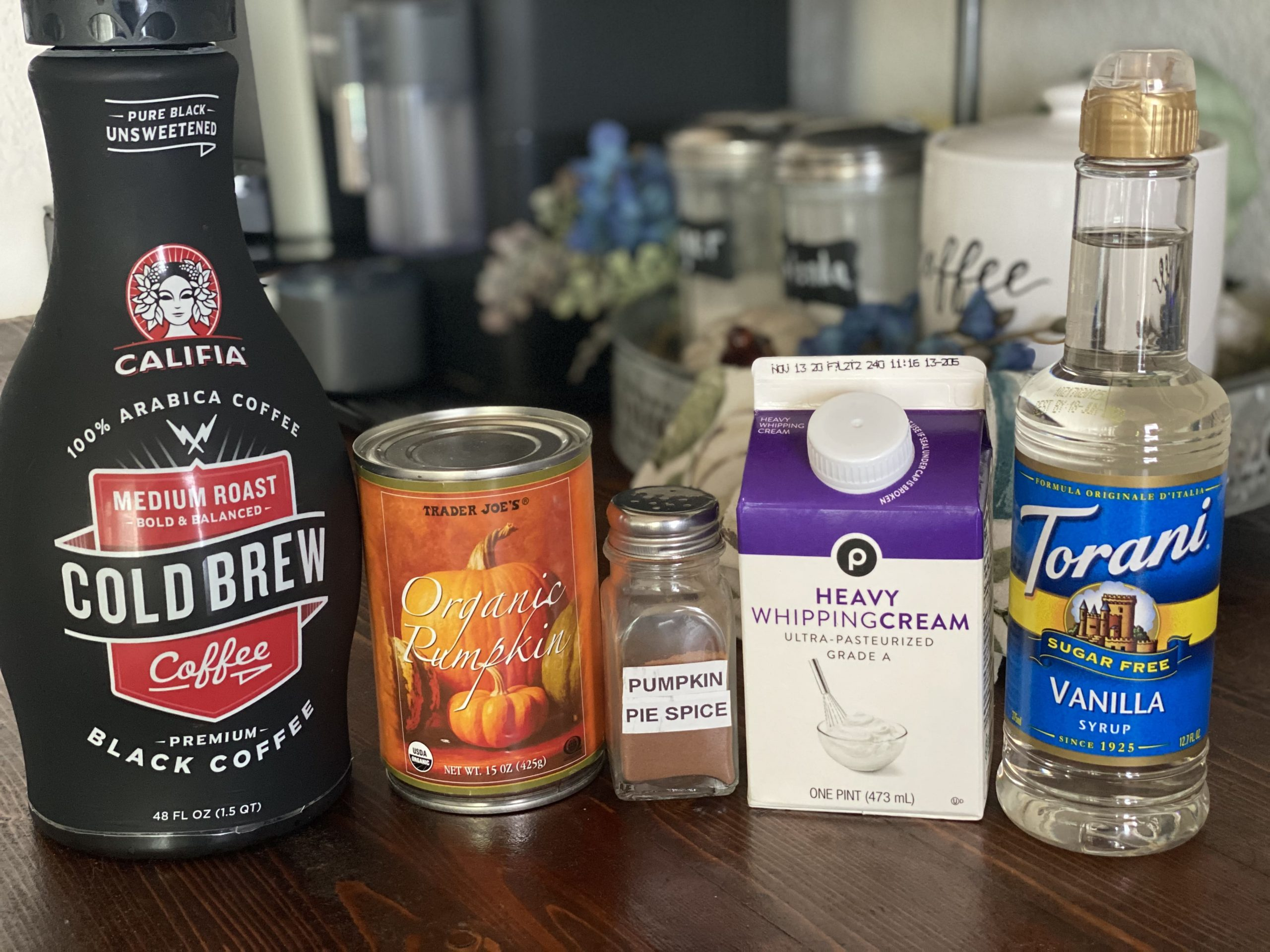 ingredients to make Pumpkin Cream Cold Brew