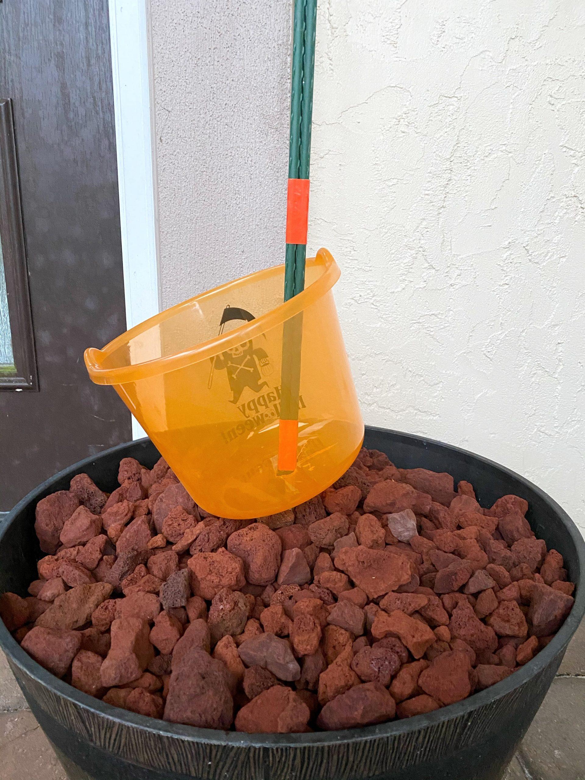 halloween bucket on sturdy stake