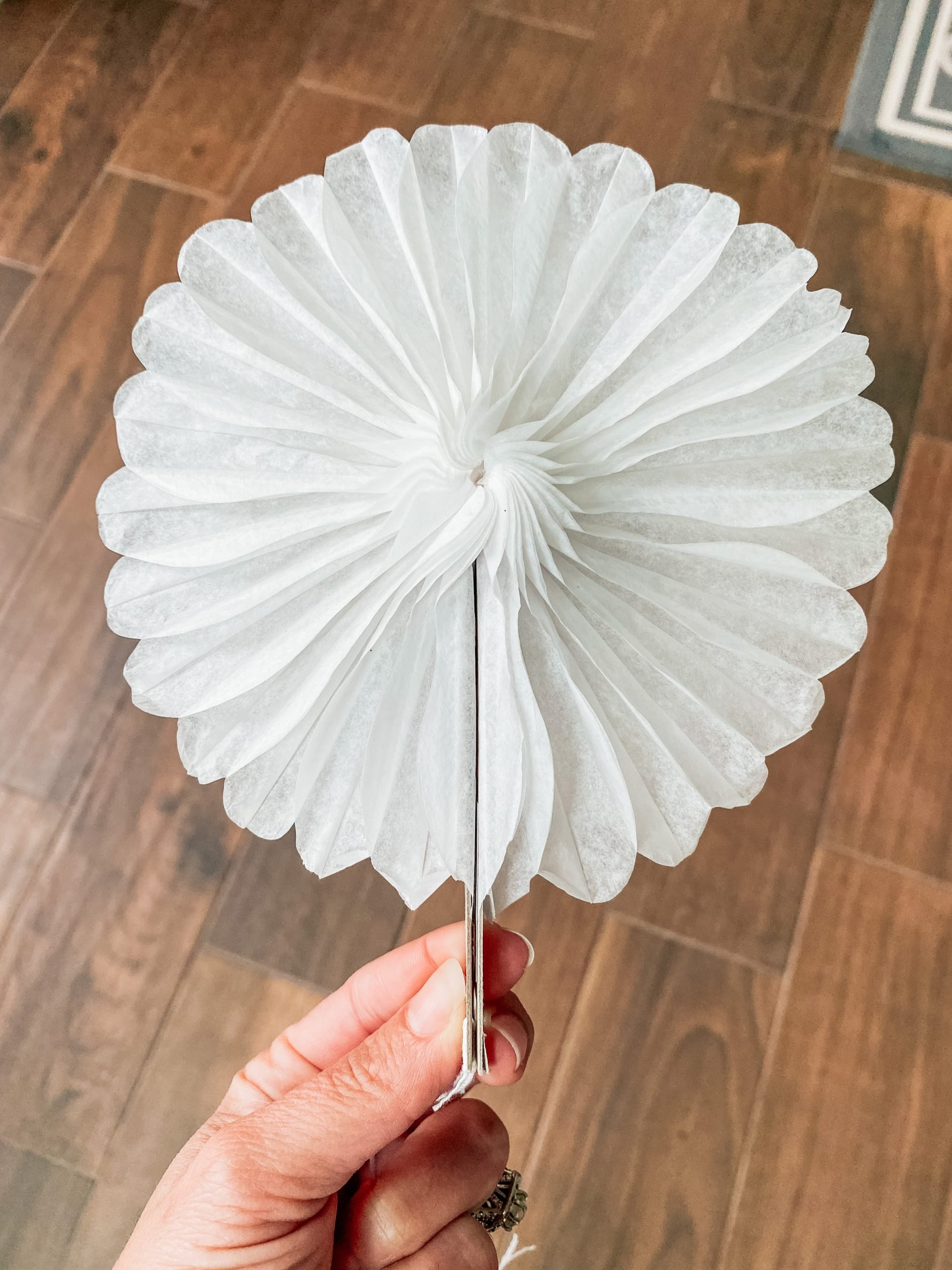 white crepe paper decoration