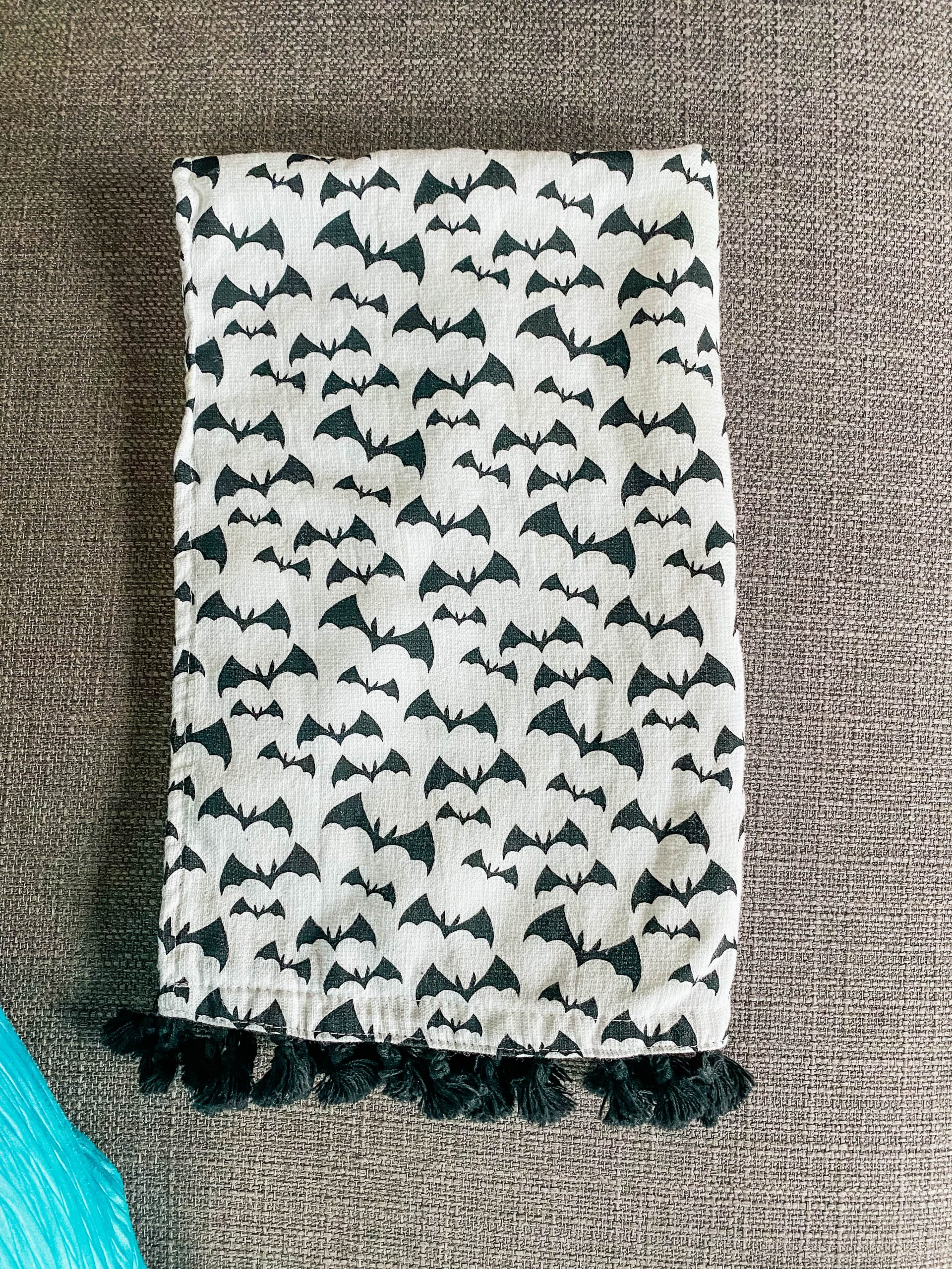 black and white bat kitchen dish cloth
