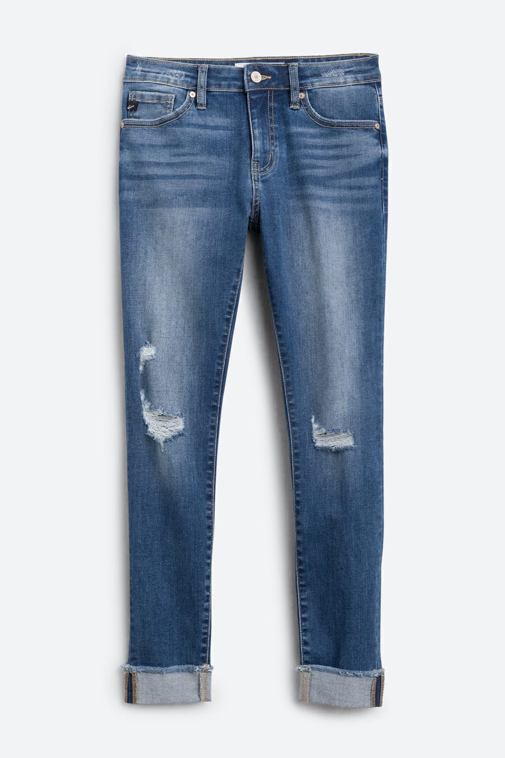KAN CAN Annalise Skinny Distressed Frayed Hem Cuffed Jean 0 | Blue $58.00