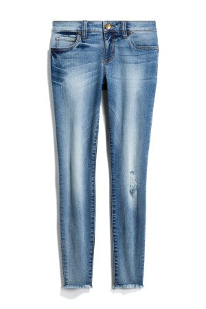 KUT FROM THE KLOTH Dayna Distressed Frayed Hem Skinny Jean SIZE- 0P $88.00