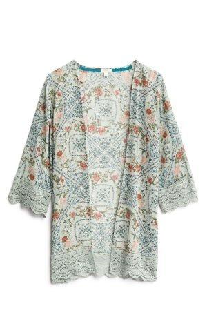 MASON & BELLE Laria Crochet Trim Kimono Size- XS $42.00