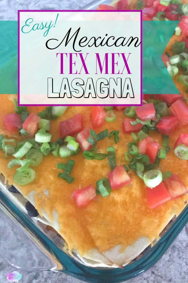 Looking for an easy weeknight dinner that can be on the table in 30 minutes? This Tex Mex Lasagna recipe is an easy chicken dish that's bursting with cheesy goodness and delicious Mexican flavors. Try this simple weeknight meal today! #mexicanfood #dinner #easydinner