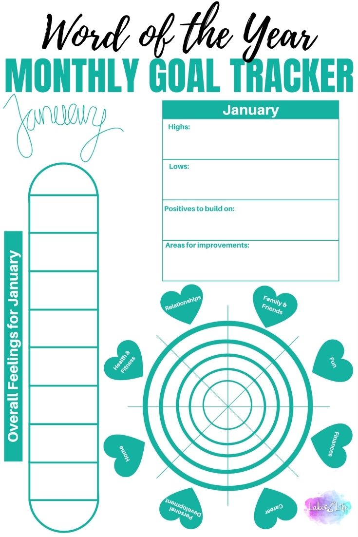 Monthly Goal Tracker for Your Word of the Year