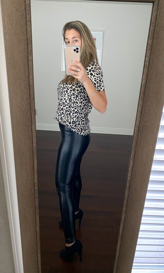 Amazon faux leather leggings and leopard shirt