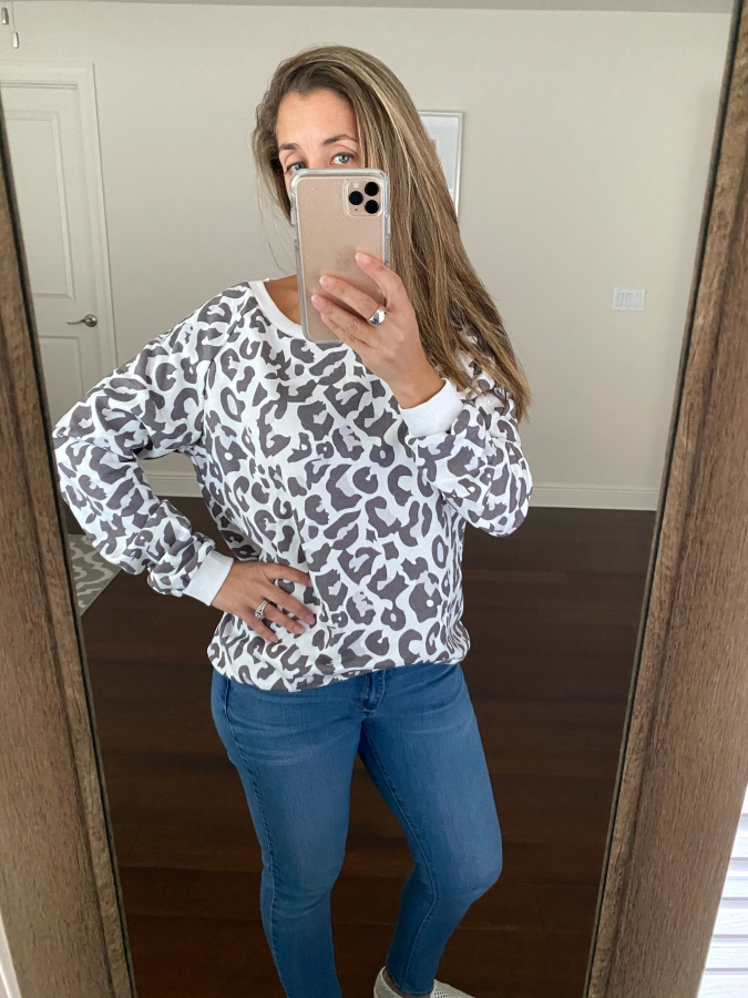 Amazon leopard crew neck sweater