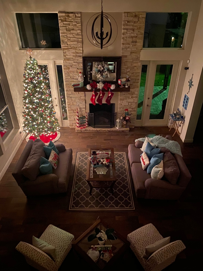 Family room decorated for Christmas at night