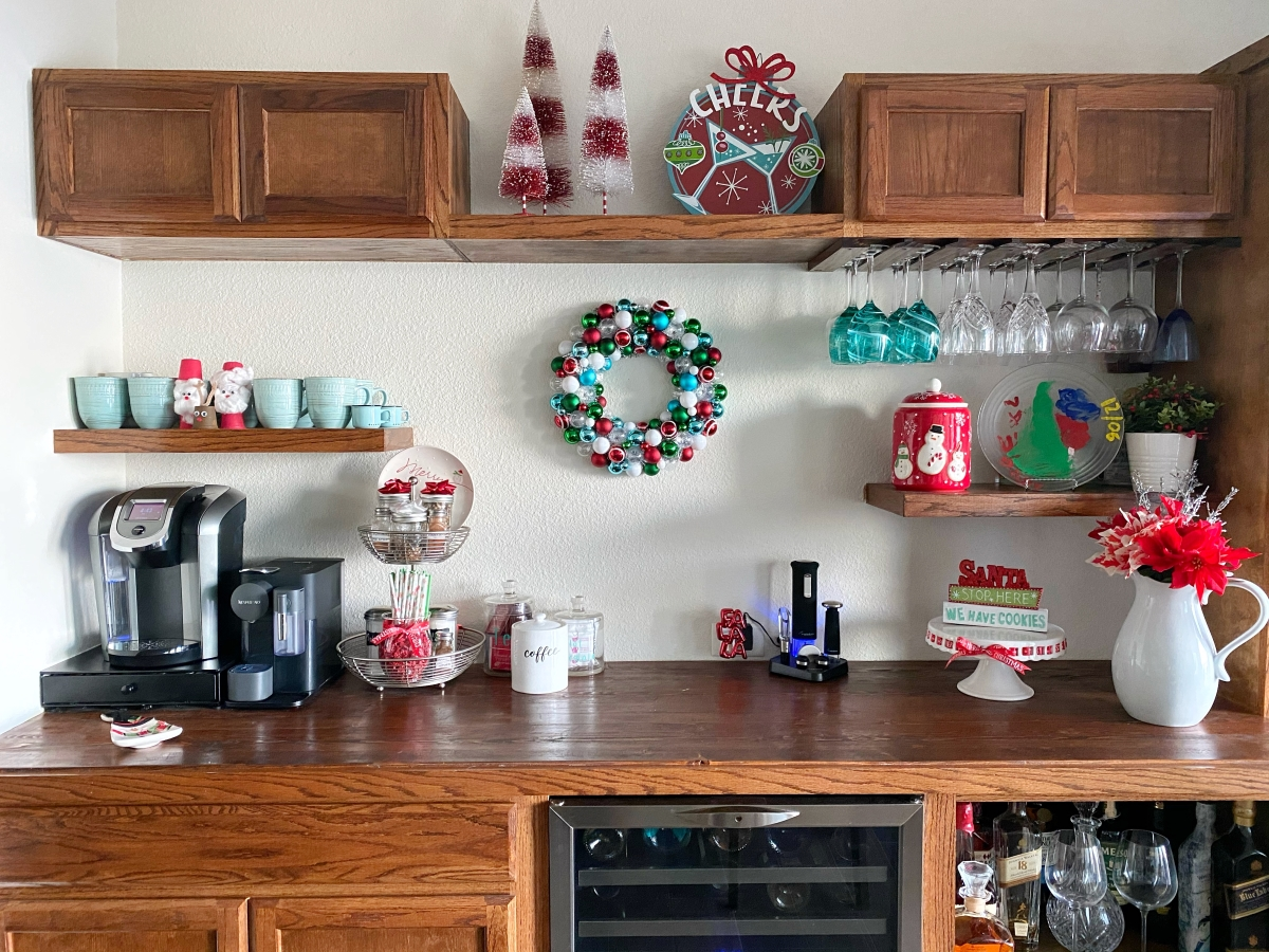Bar and Coffee Bar Decorated for Christmas