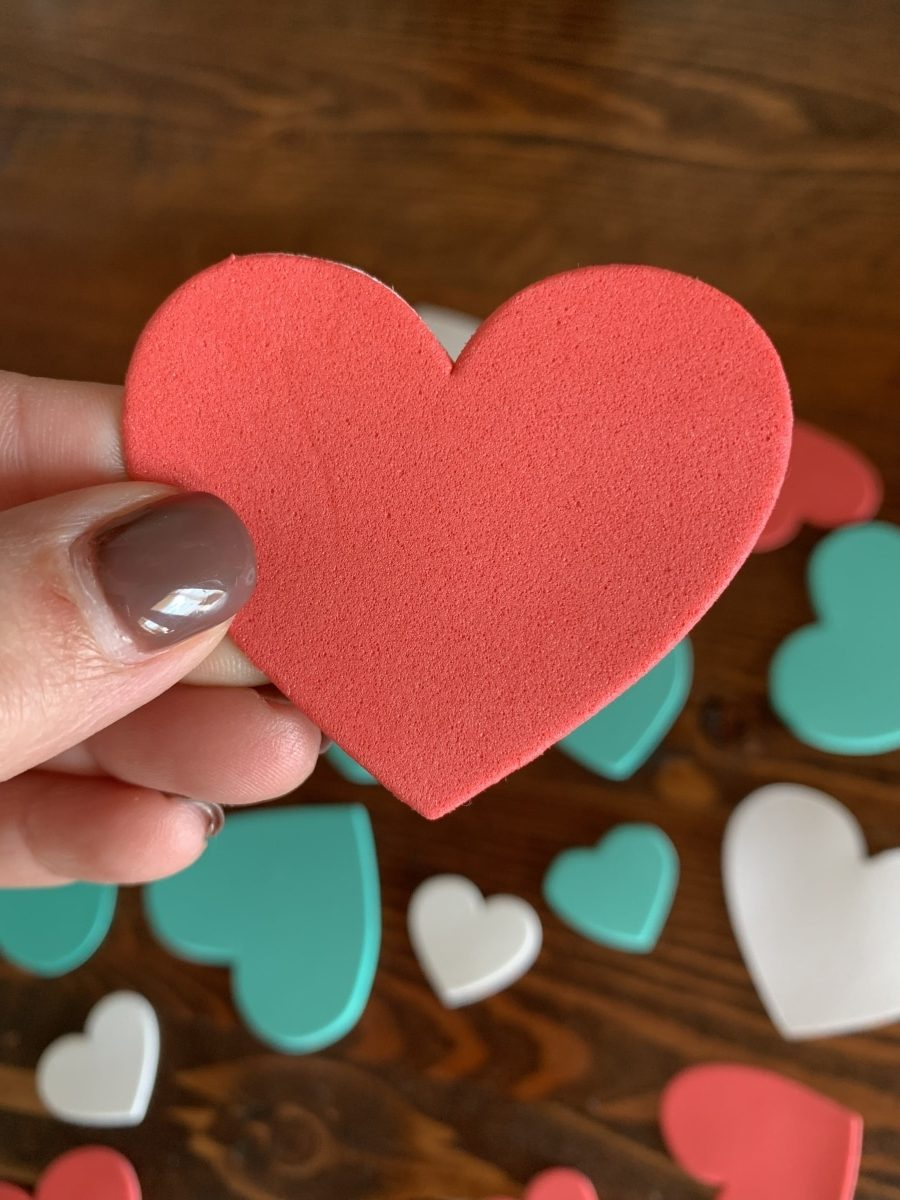 white, red and teal foam hearts