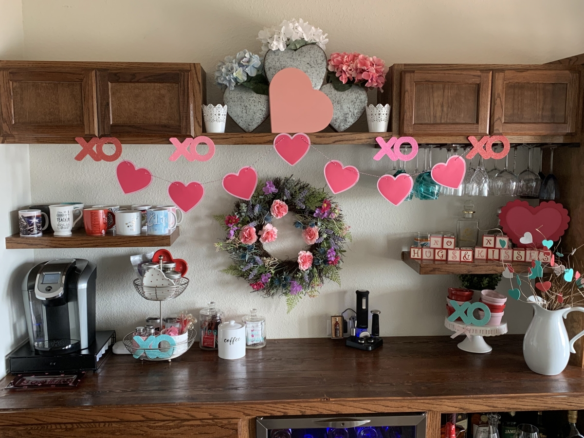 Bar and Coffee Bar Decorated for Valentine's Day