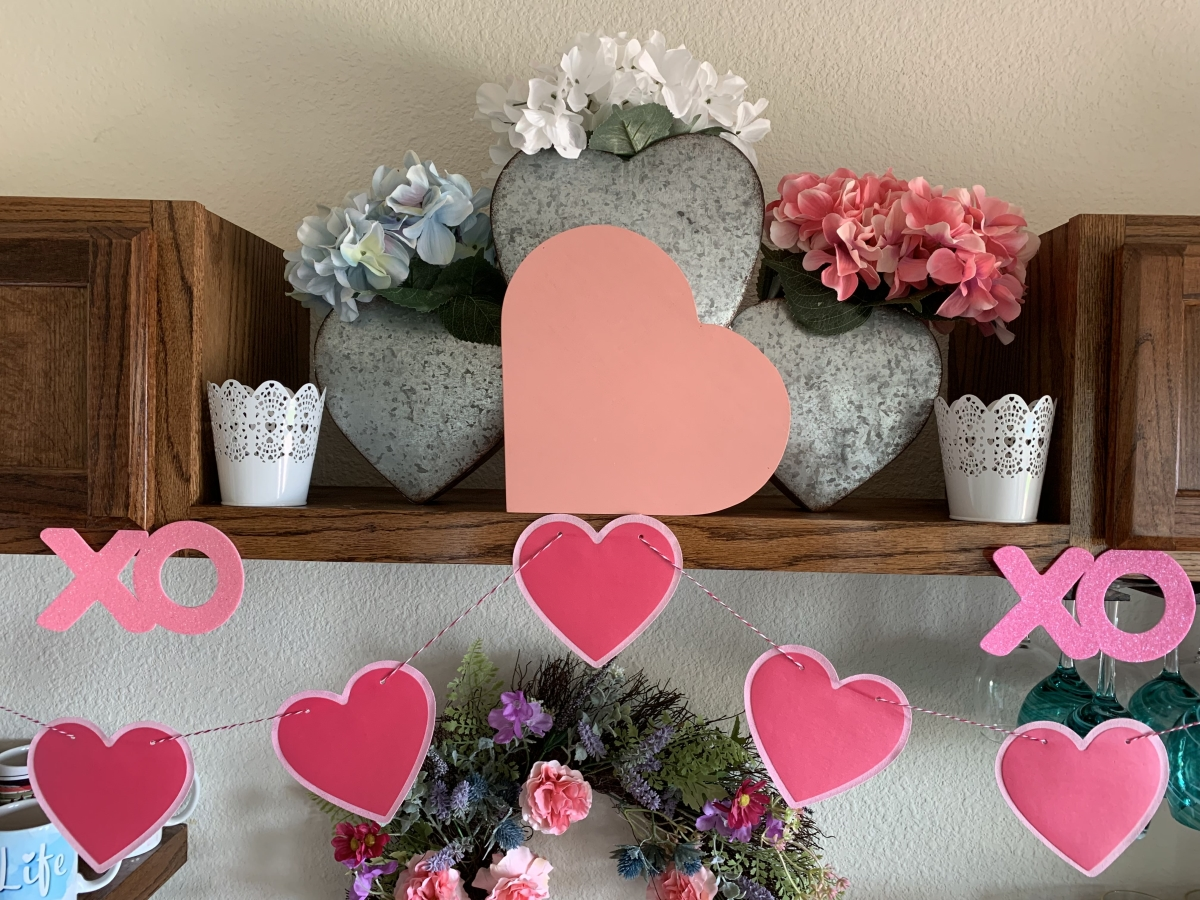 Tin Heart Display with spring flowers