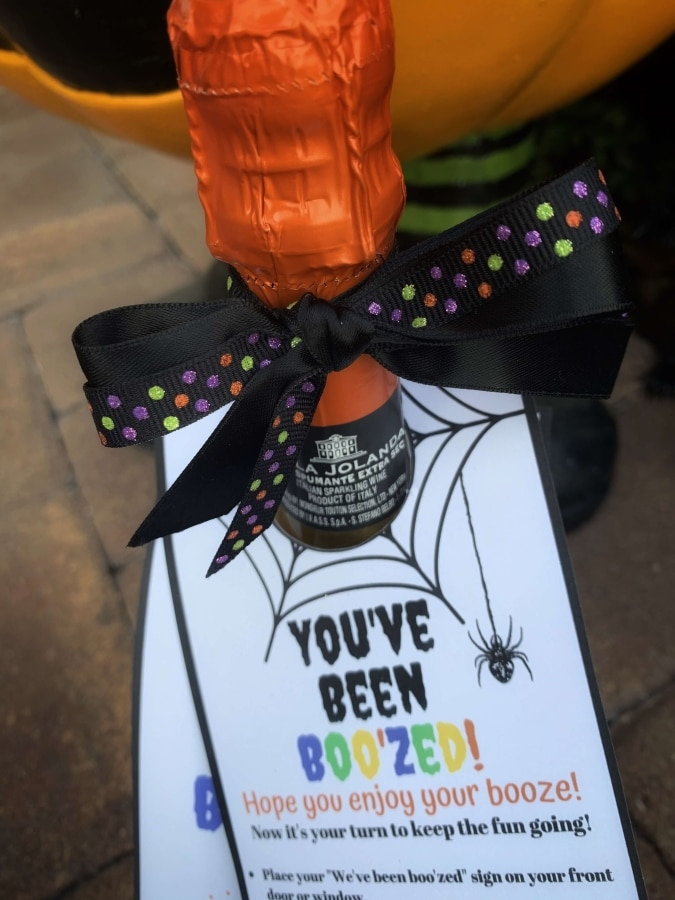 You've Been Boo'zed Wine Tags on Champagne Bottle