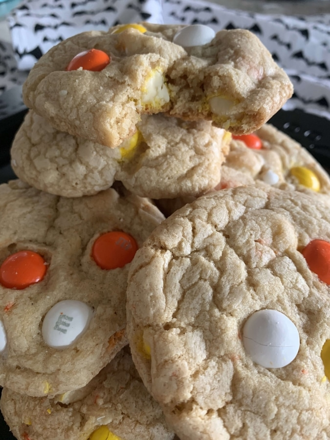 White Chocolate Candy Corn M&M Cookies with Macadamia Nuts