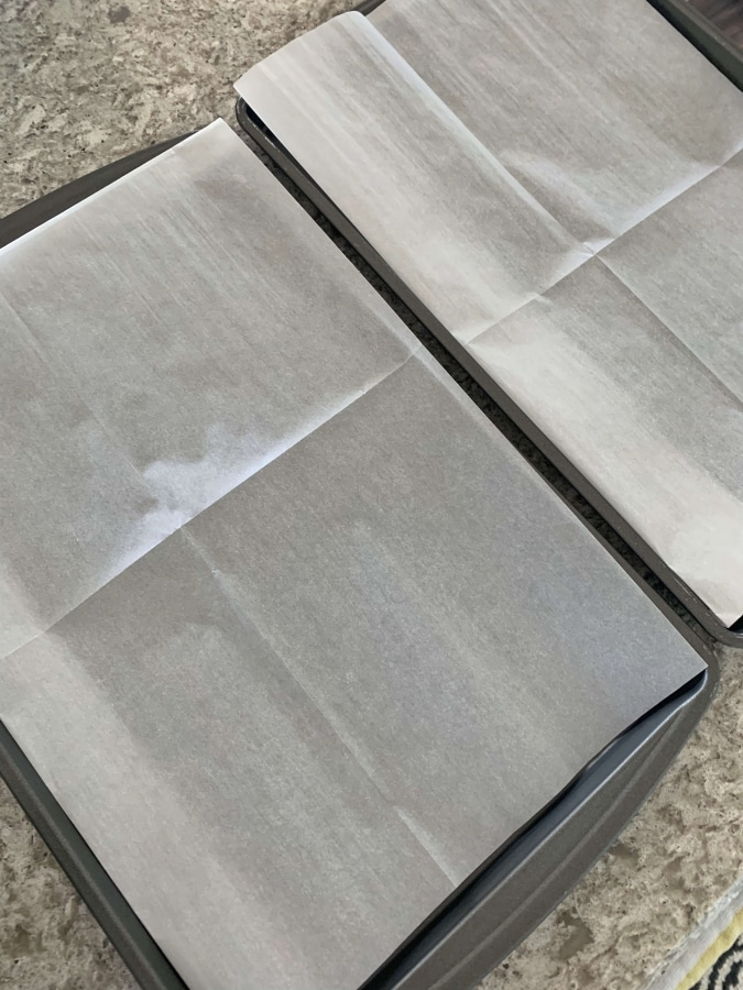 Parchment paper on baking sheets